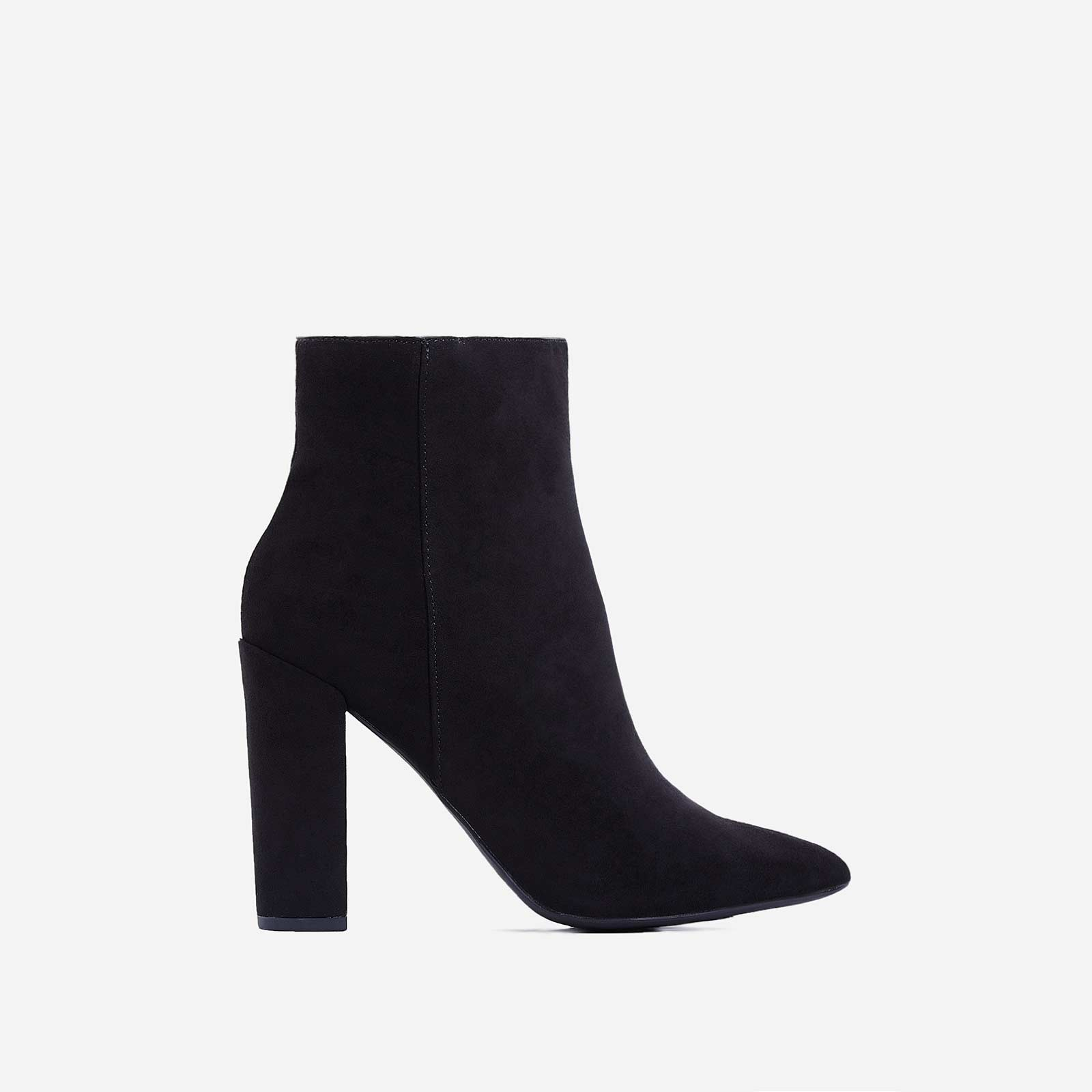 Diana Block Heel Ankle Boot In Black Faux Suede