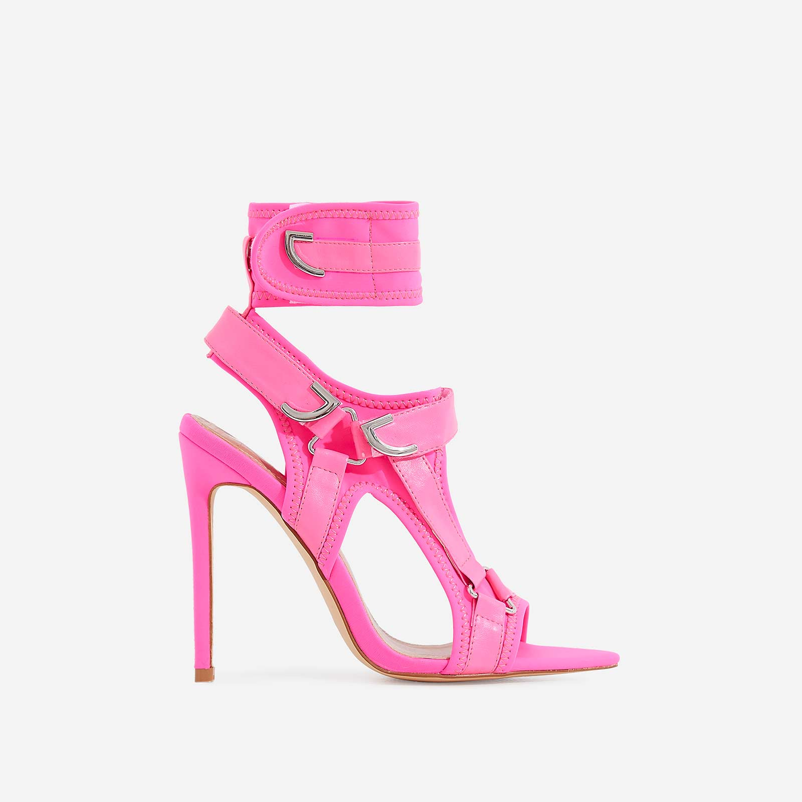 Dive-In Pointed Cage Heel In Neon Pink Lycra