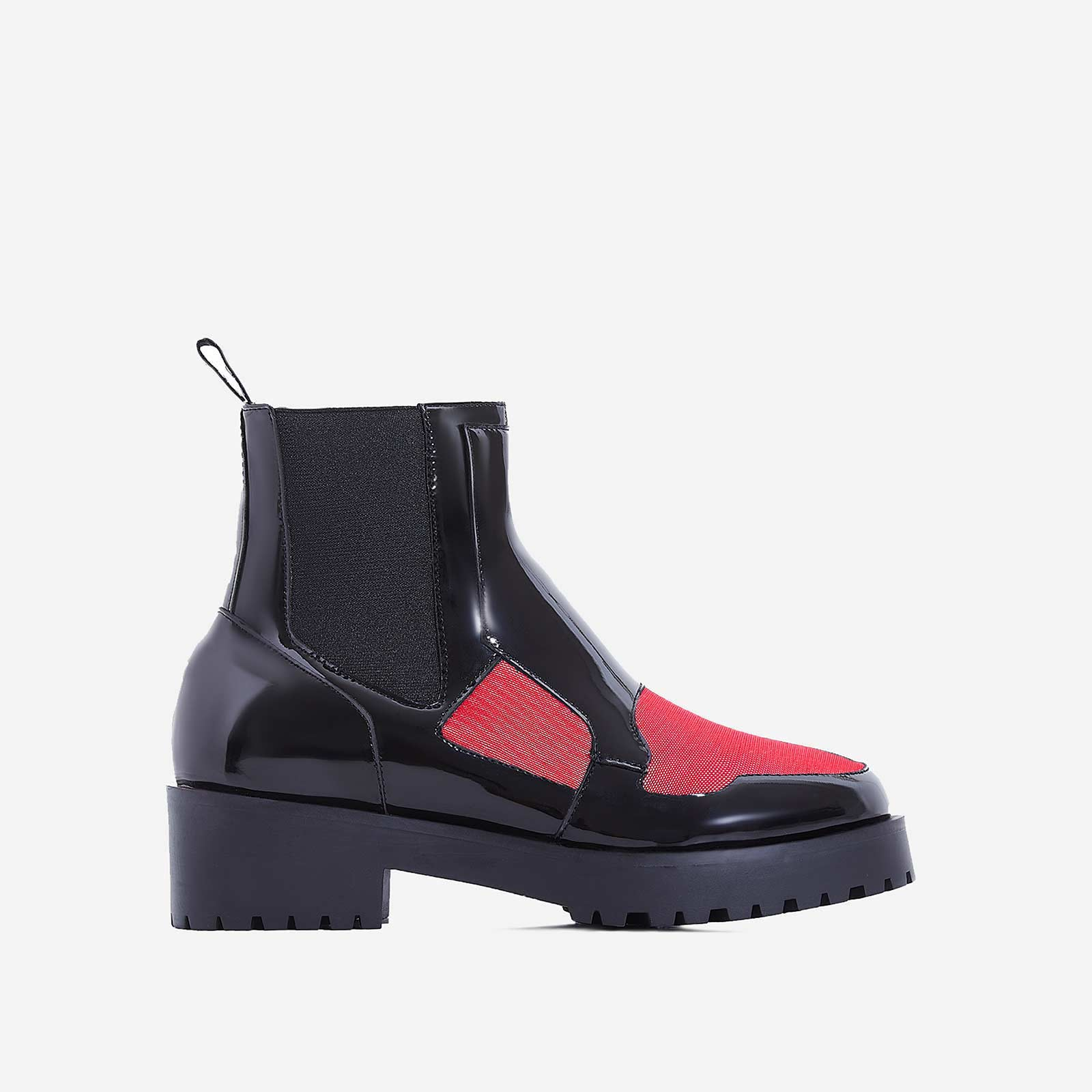 Dixon Red Mesh Panel Ankle Biker Boot In Black Patent