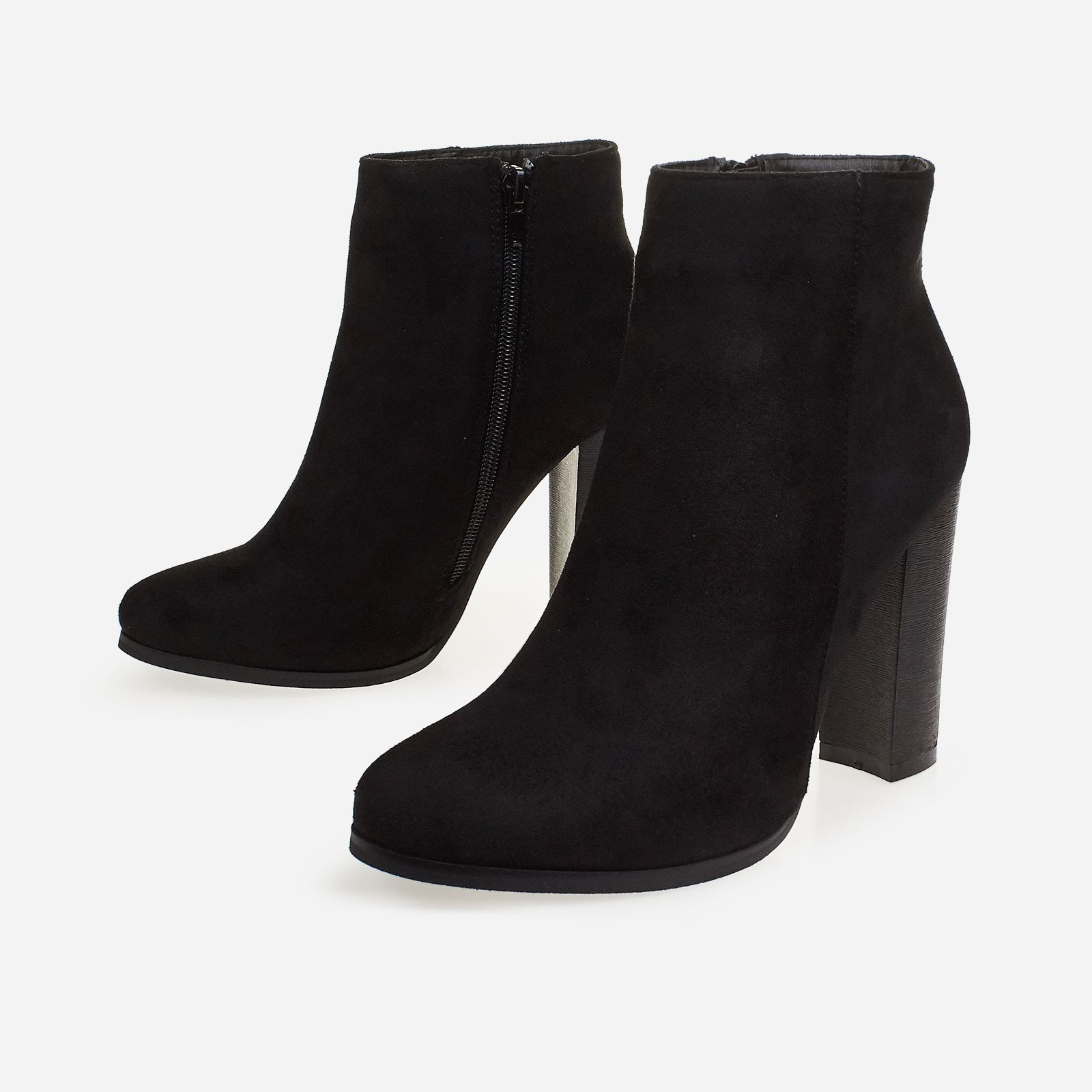Anabel Block Heel Ankle Boot In Black Faux Suede