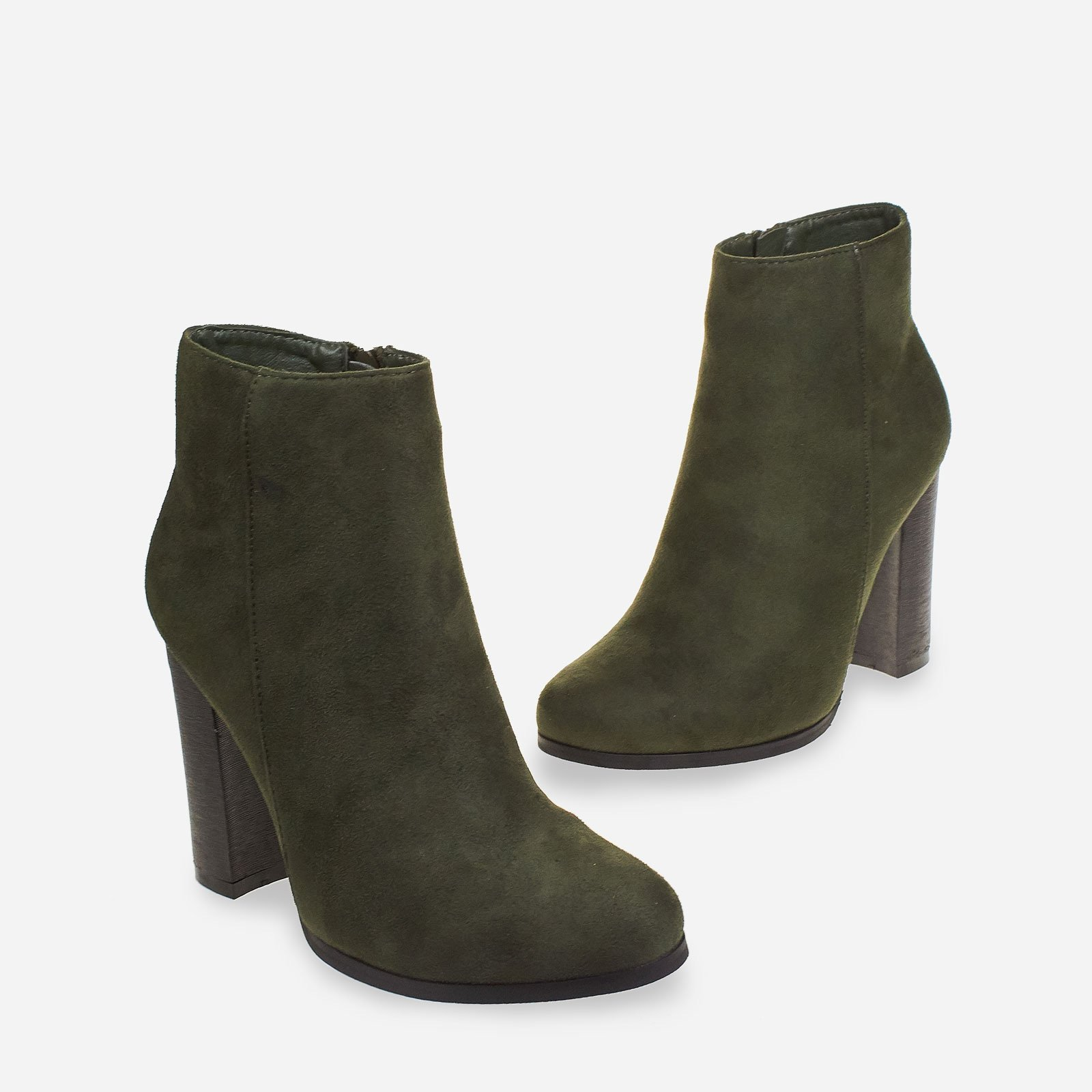 Anabel Block Heel Ankle Boot In Khaki Faux Suede