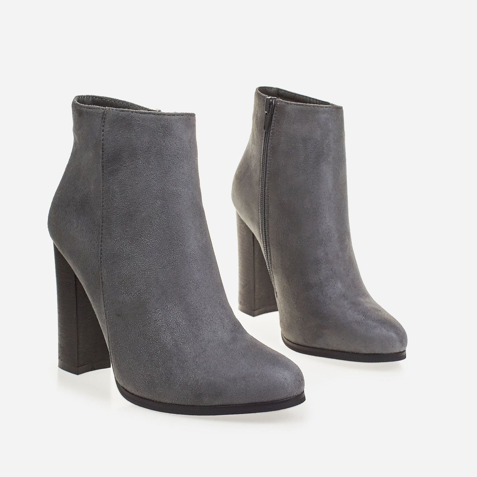 Anabel Block Heel Ankle Boot In Grey Faux Suede