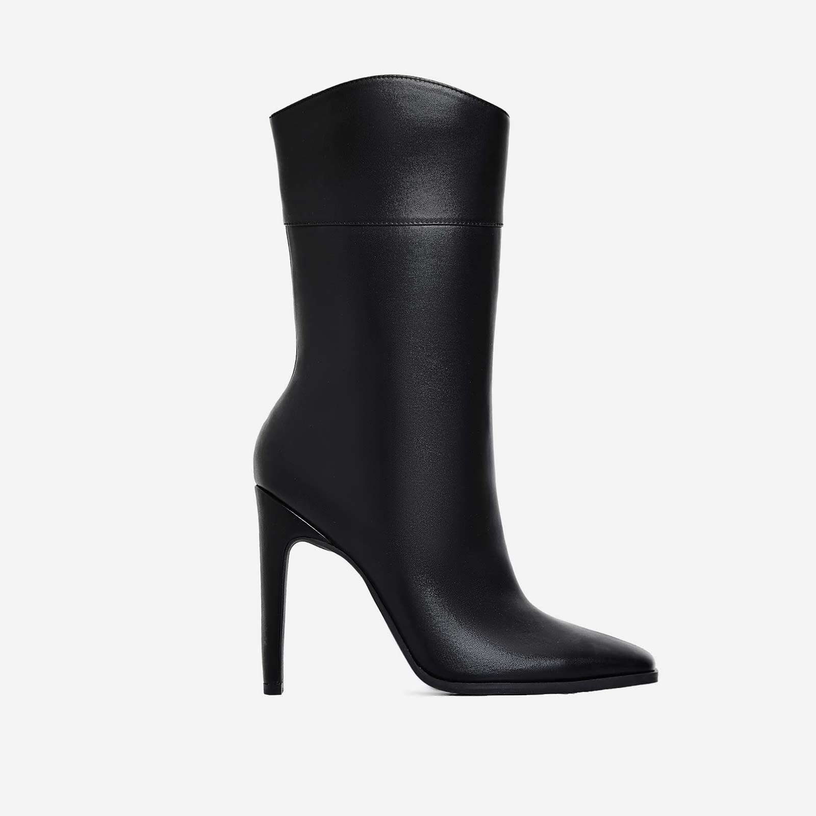 Dolce Flat Heel Ankle Boot In Black Faux Leather