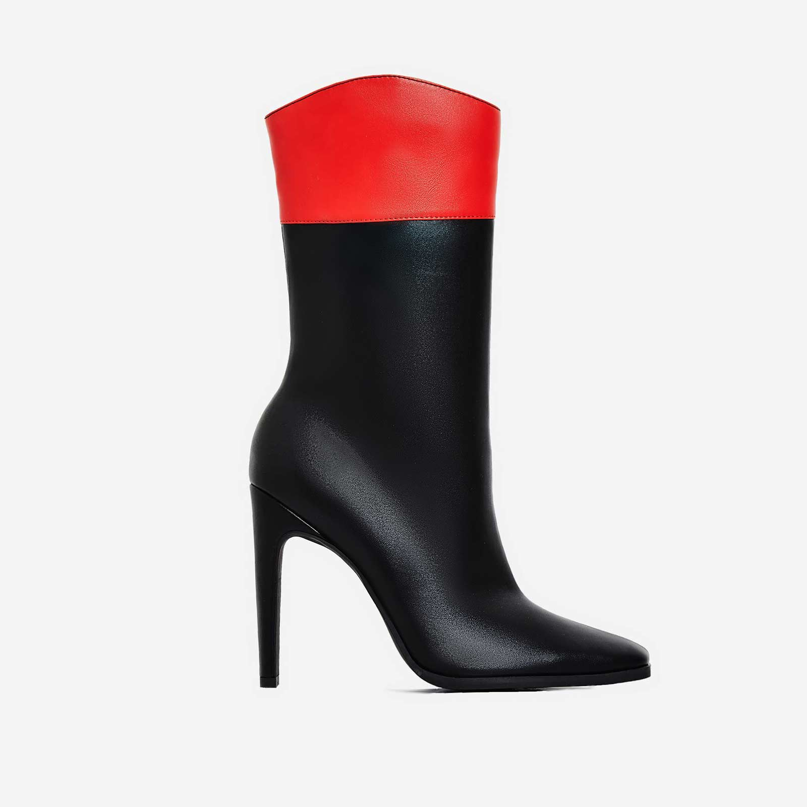 Dolce Flat Heel Ankle Boot In Red And Black Faux Leather