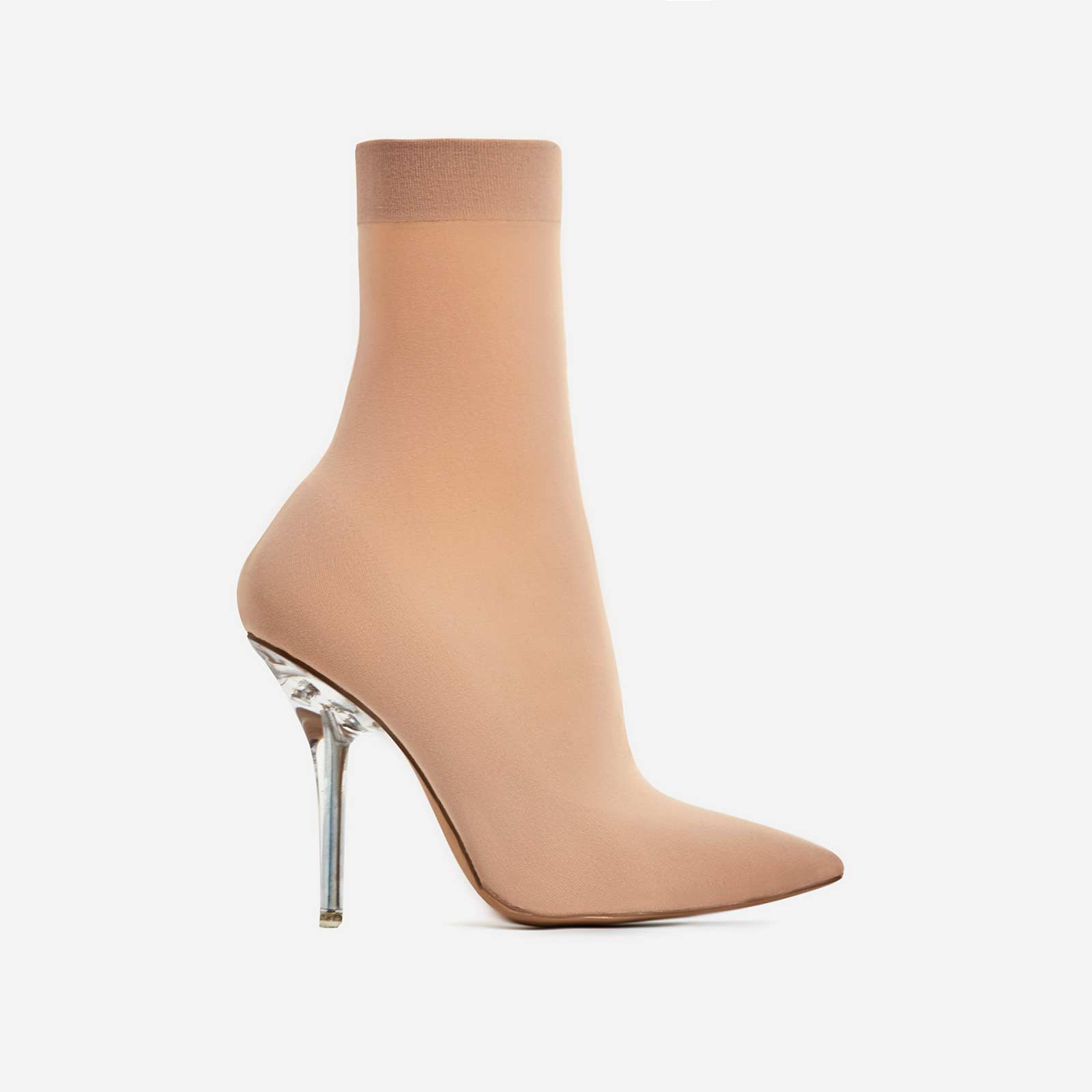 Doll Perspex Ankle Sock Boot In Nude