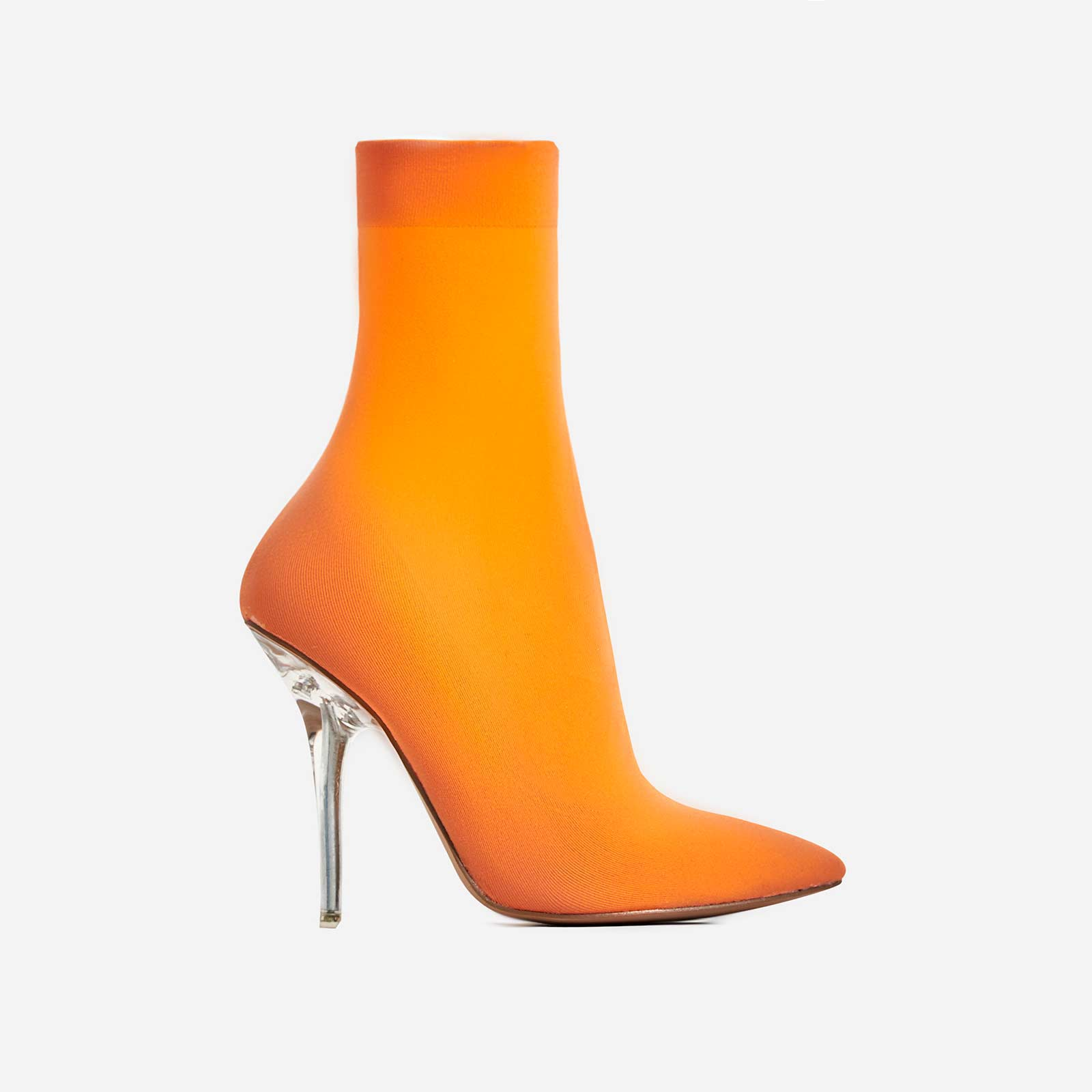 Doll Perspex Ankle Sock Boot In Orange