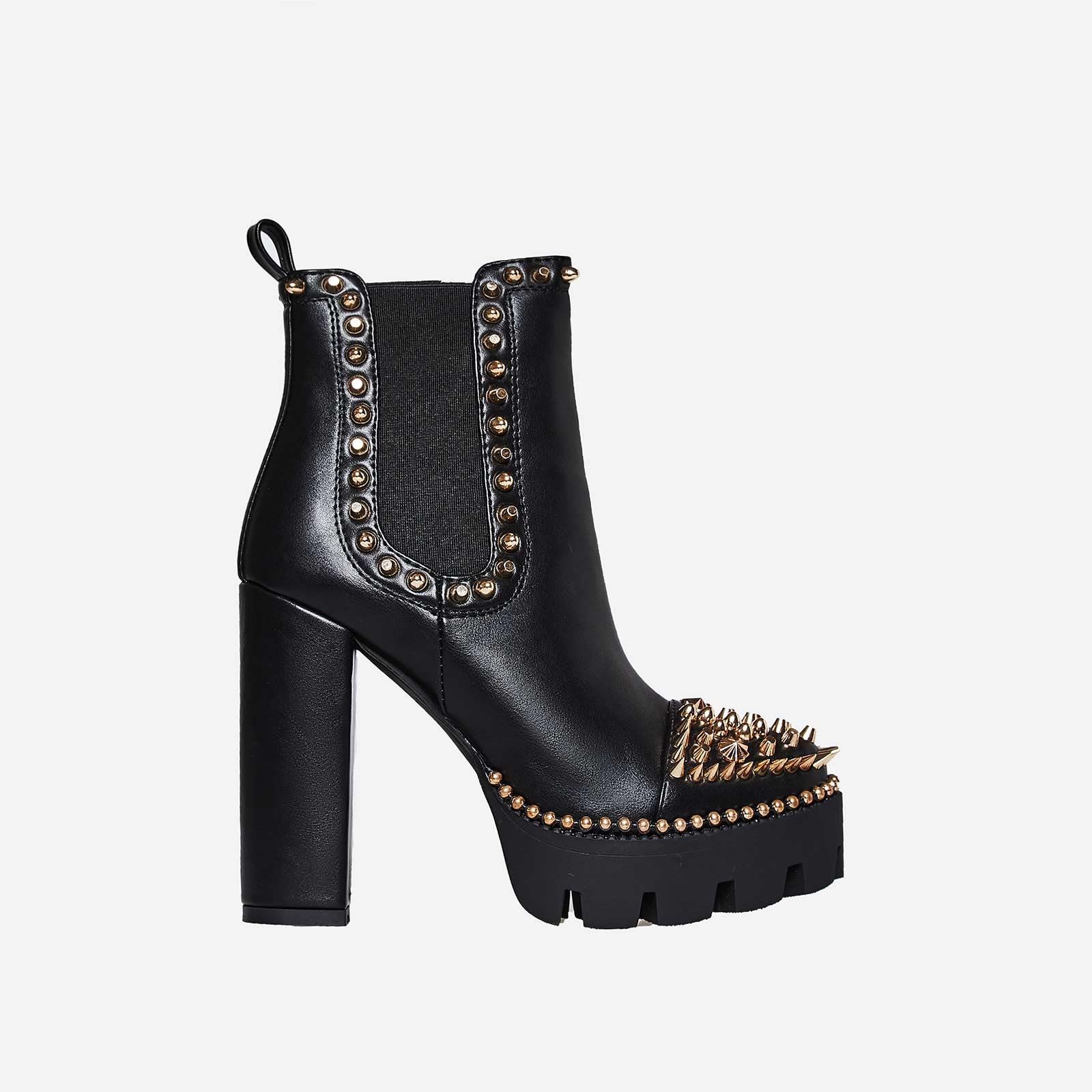 Domino Gold Studded Detail Platform Biker Boot In Black Faux Leather