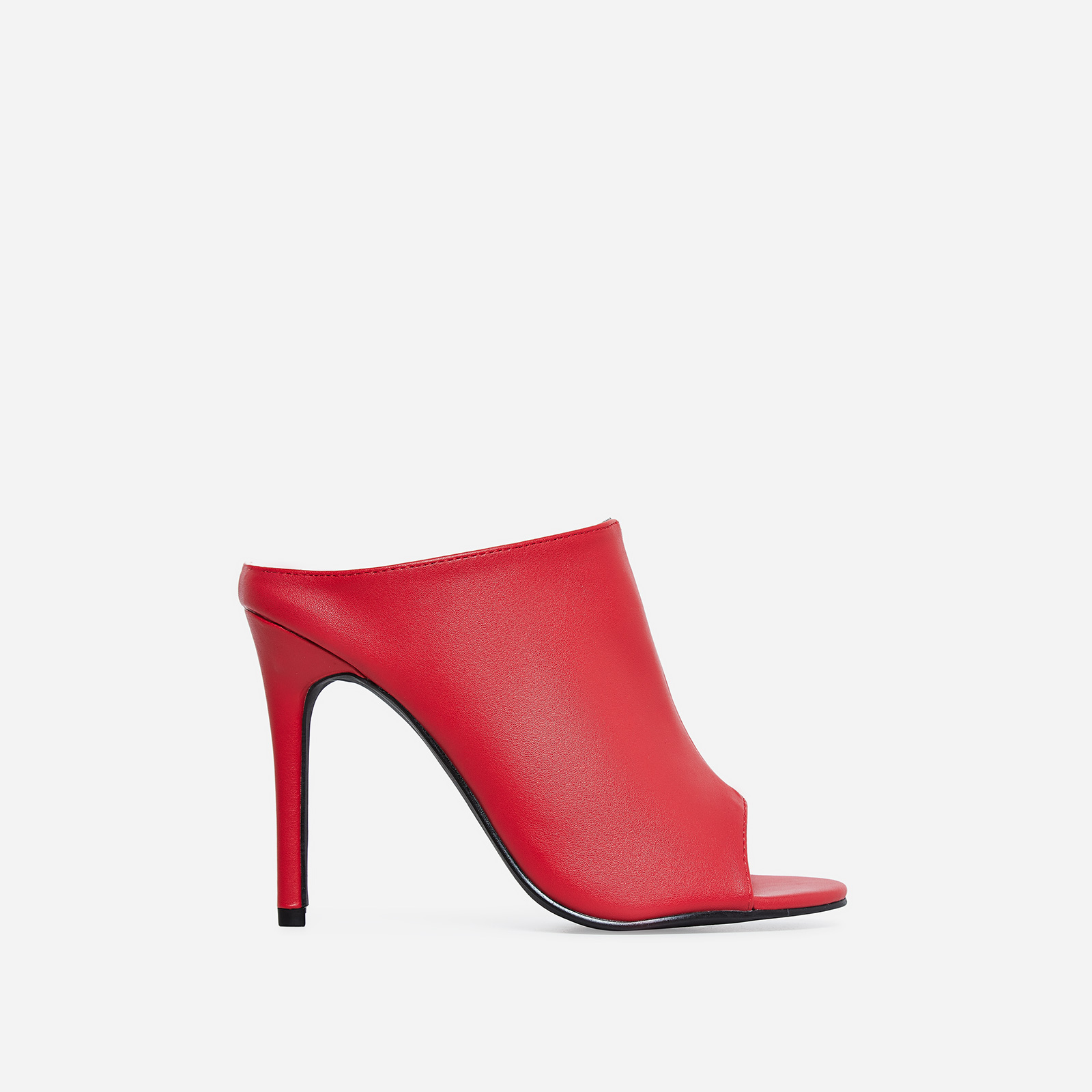 Downtown Peep Toe Mule In Red Faux Leather