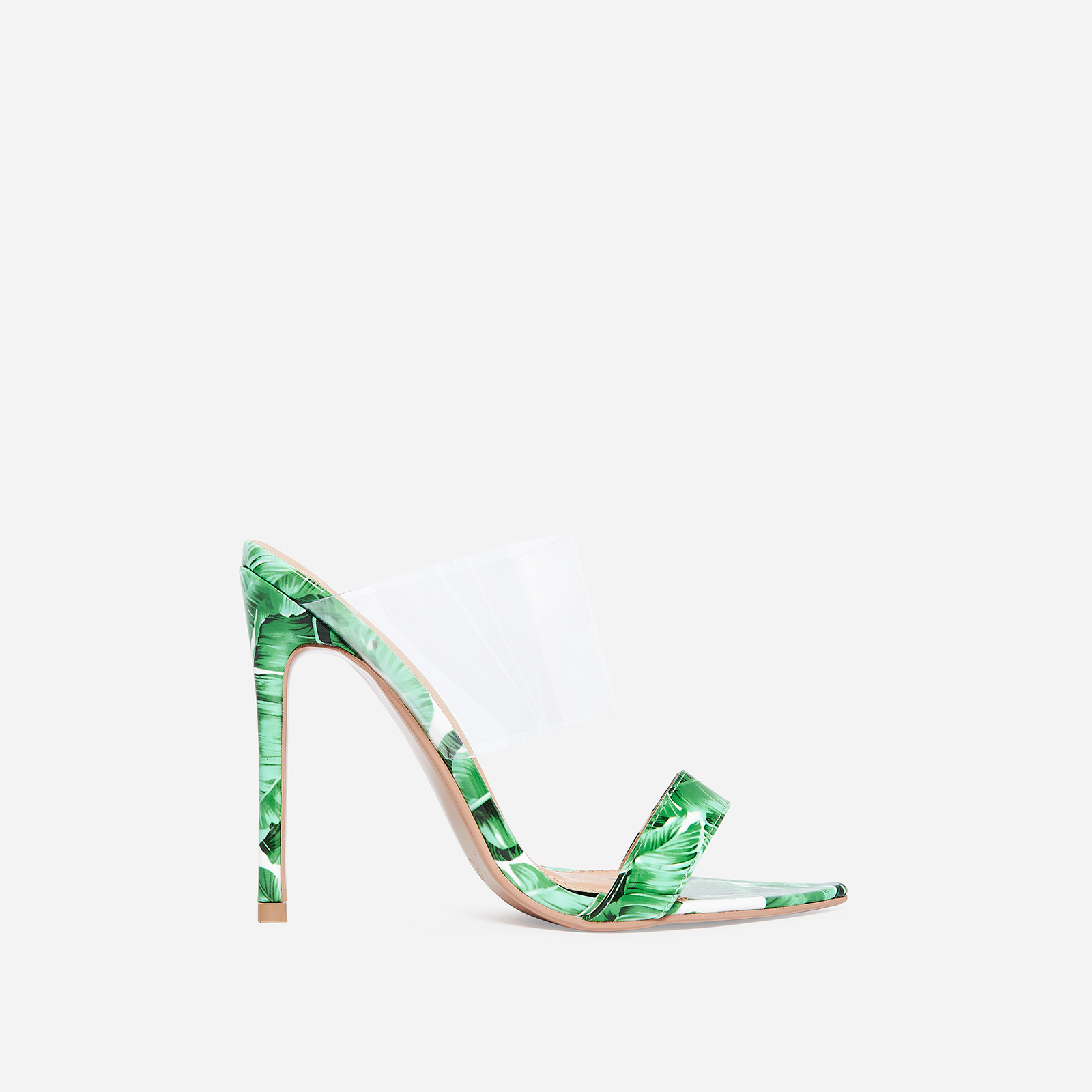 Dream Pointed Perspex Mule In Green Patent