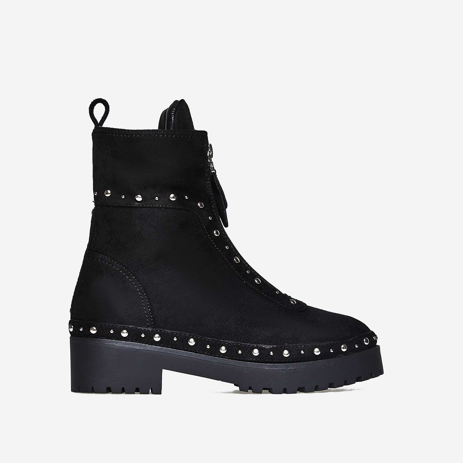 Duke Zip And Studded Detail Biker Boot In Black Faux Suede