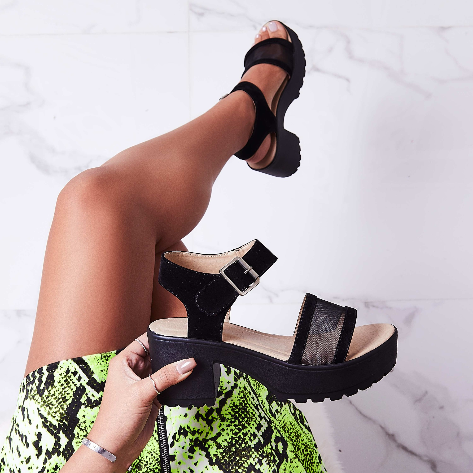 Echo Mesh Detail Sandal In Black Faux Suede