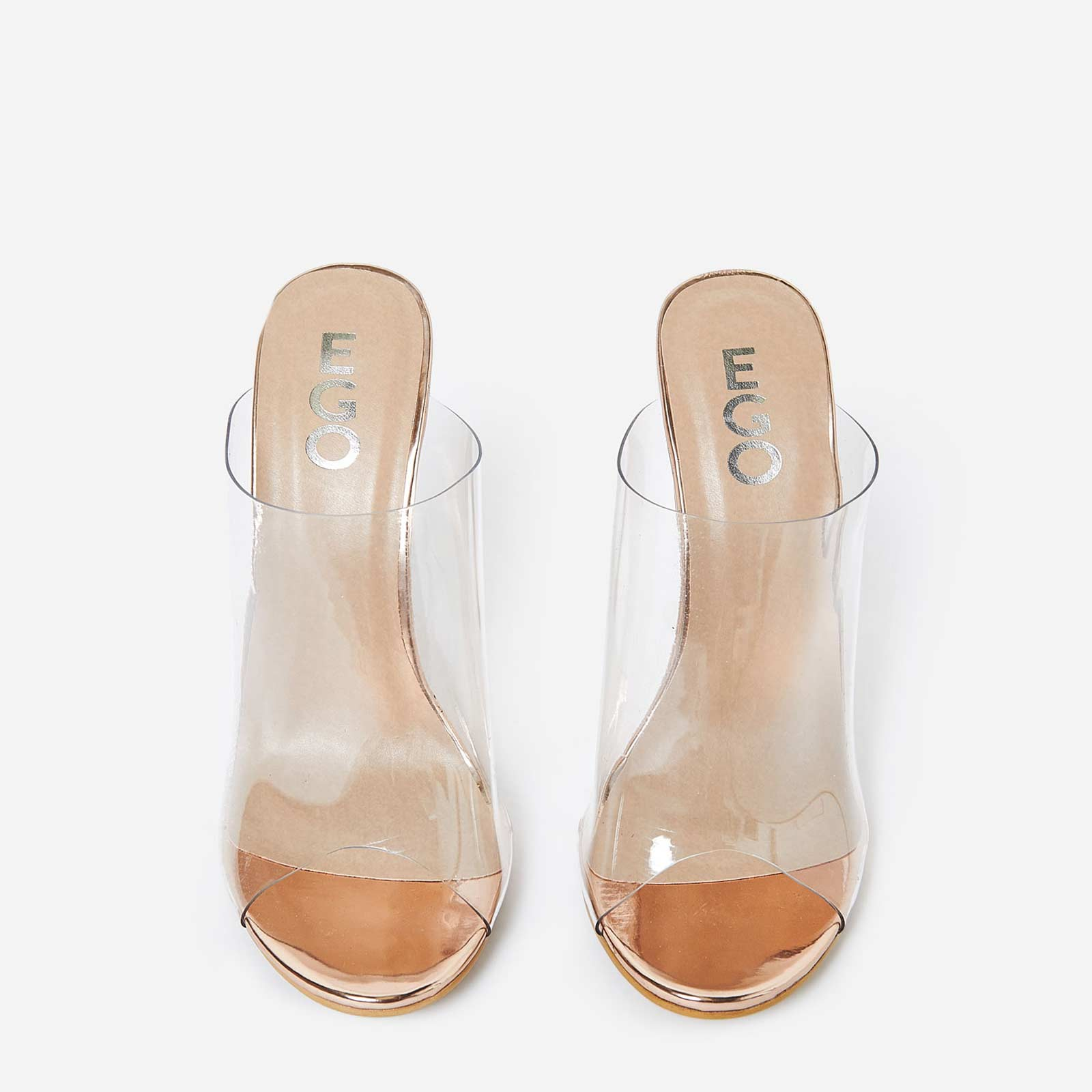 Elegant Perspex Peep Toe Mule In Rose Gold Faux Leather