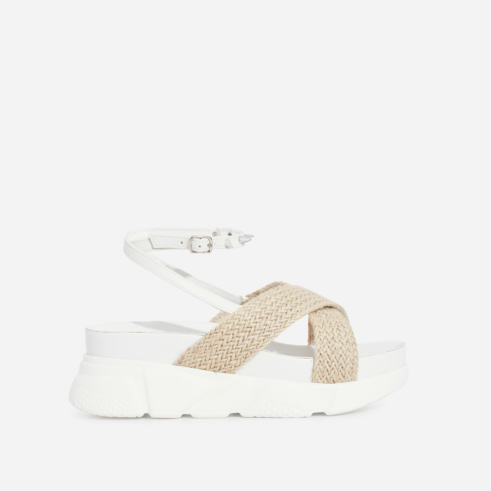 Edie Studded Detail Rope Chunky Sole Sandal In White Faux Leather