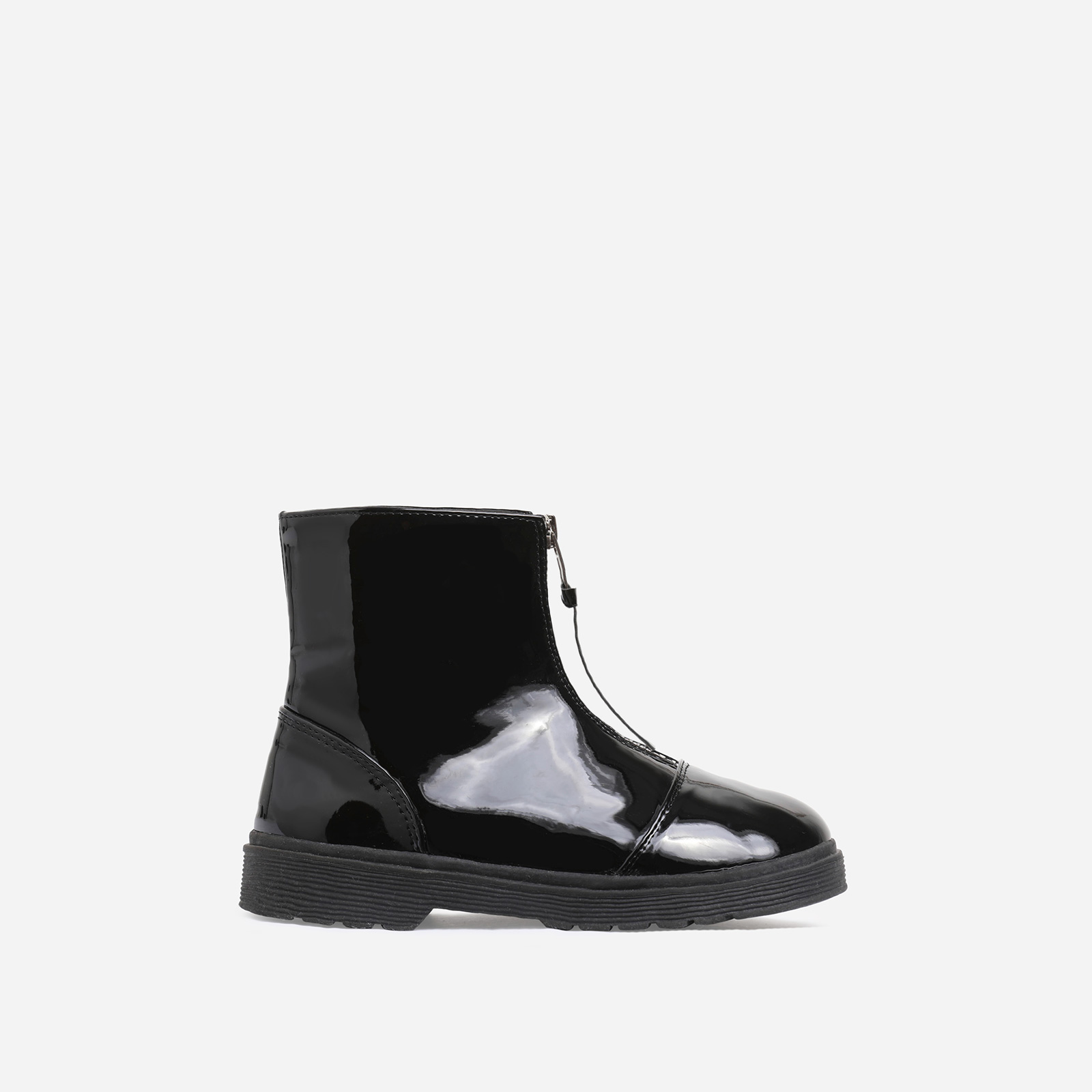 Centre Girl's Zip Detail Ankle Biker Boots In Black Patent