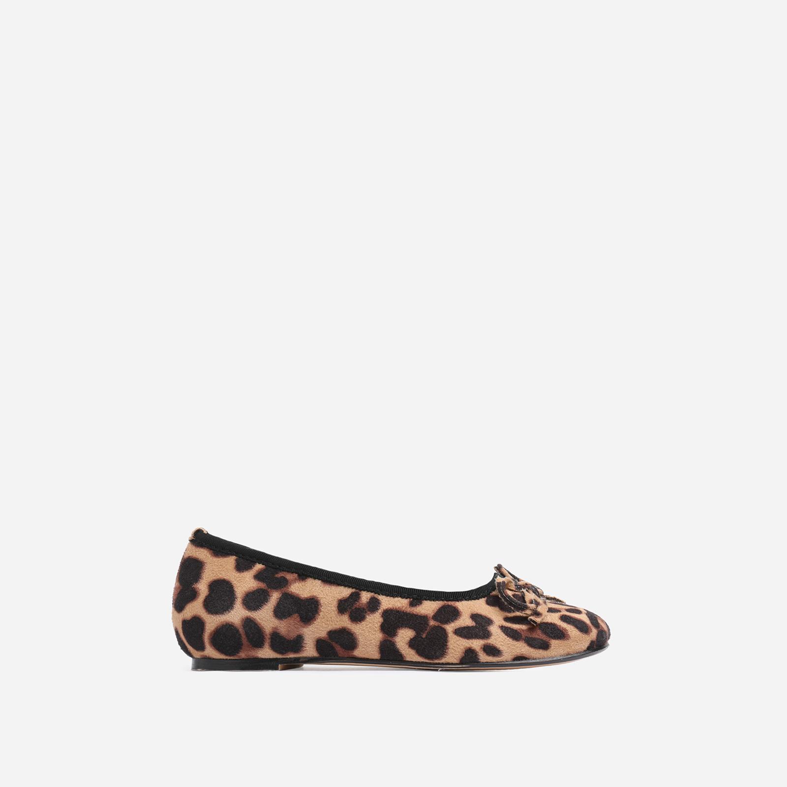 Ballerina Girl's Bow Detail Flat Ballet Pump In Tan Leopard Print Faux Suede