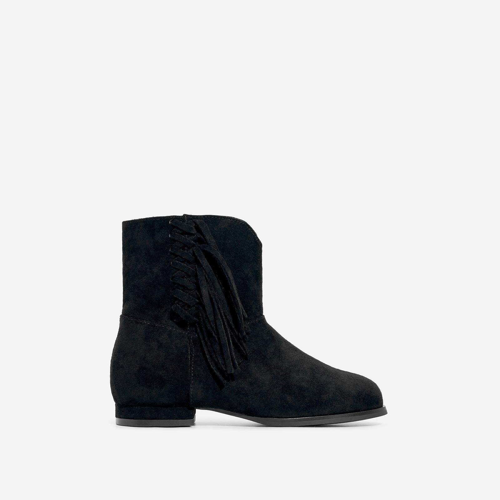 Sweetheart Girl's Tassel Detail Ankle Western Boot In Black Faux Suede