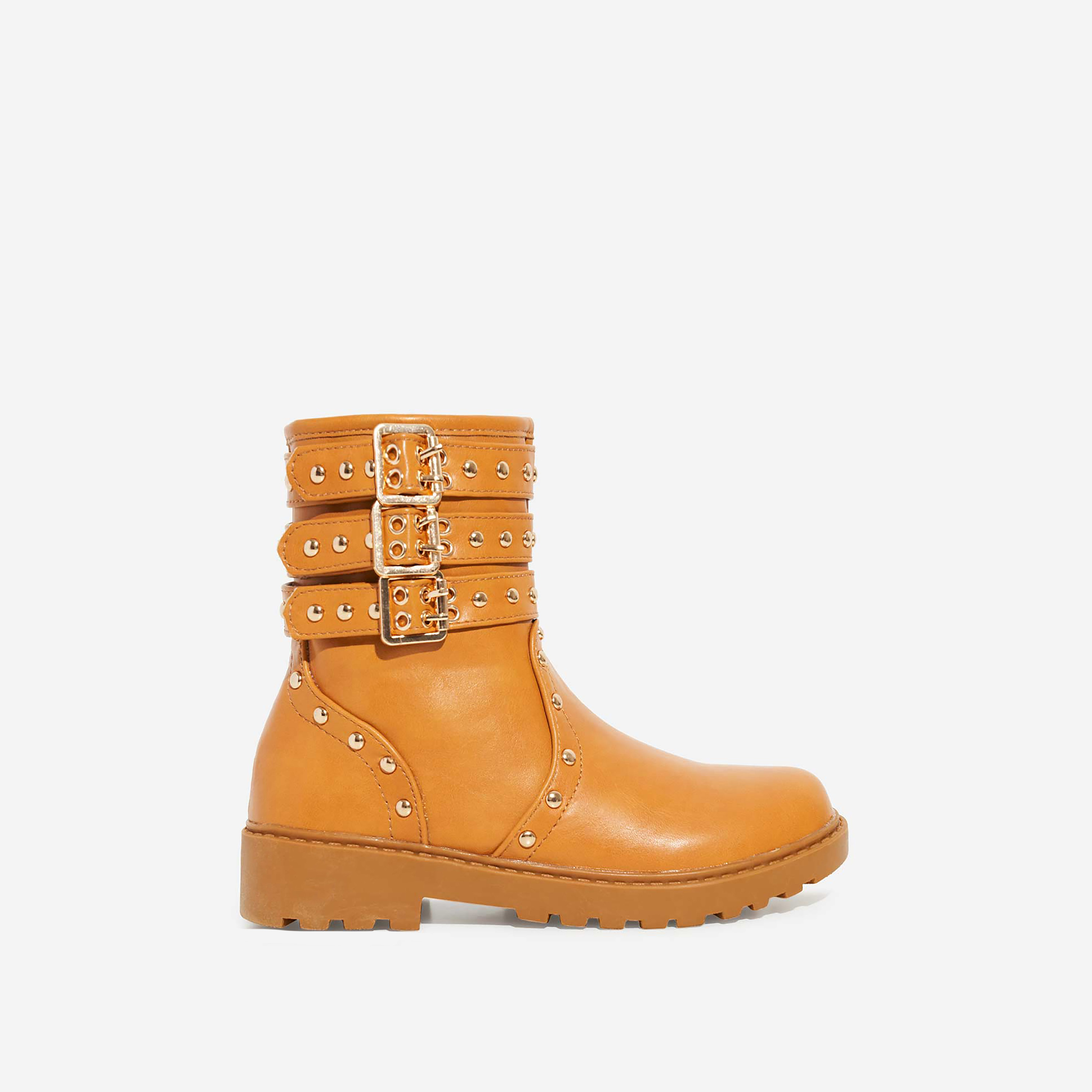 Blossom Girl's Studded Detail Ankle Biker Boots In Tan Faux Leather