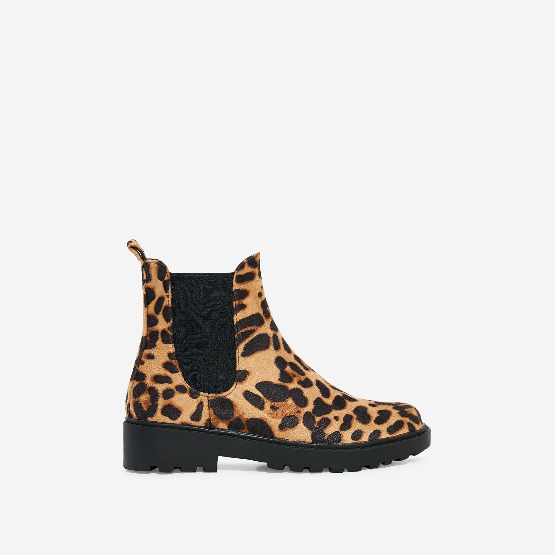 Tristan Girl's Chelsea Ankle Biker Boot Tan Leopard Print Faux Suede