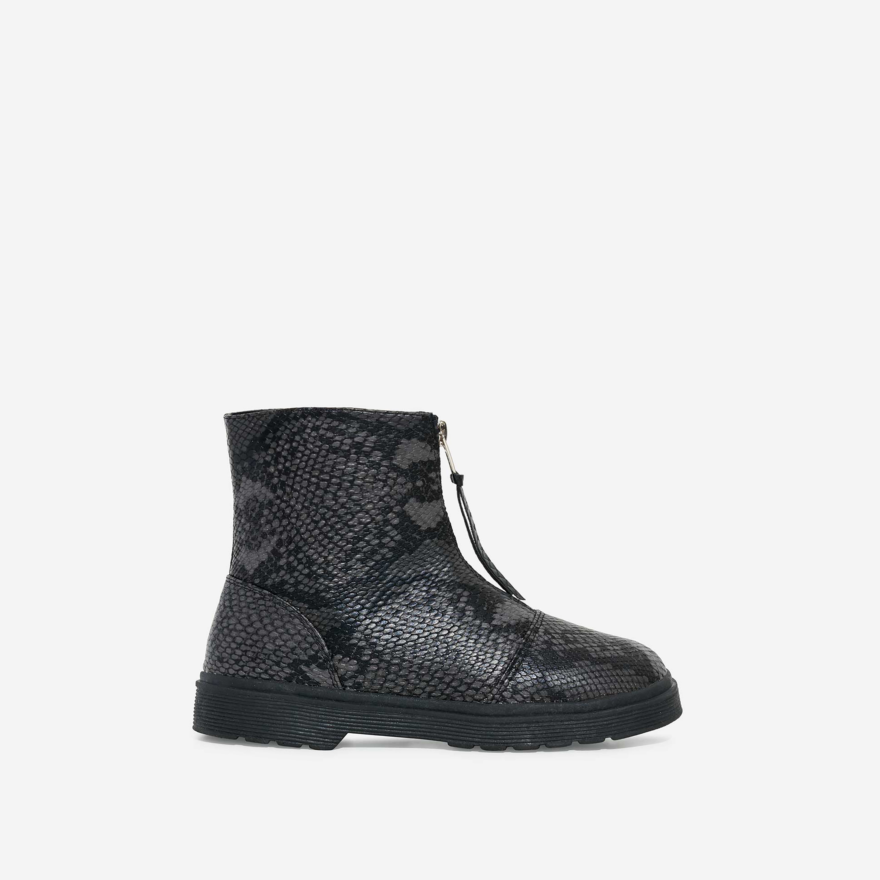 Centre Girl's Zip Detail Ankle Biker Boots In Grey Snake Print Faux Leather