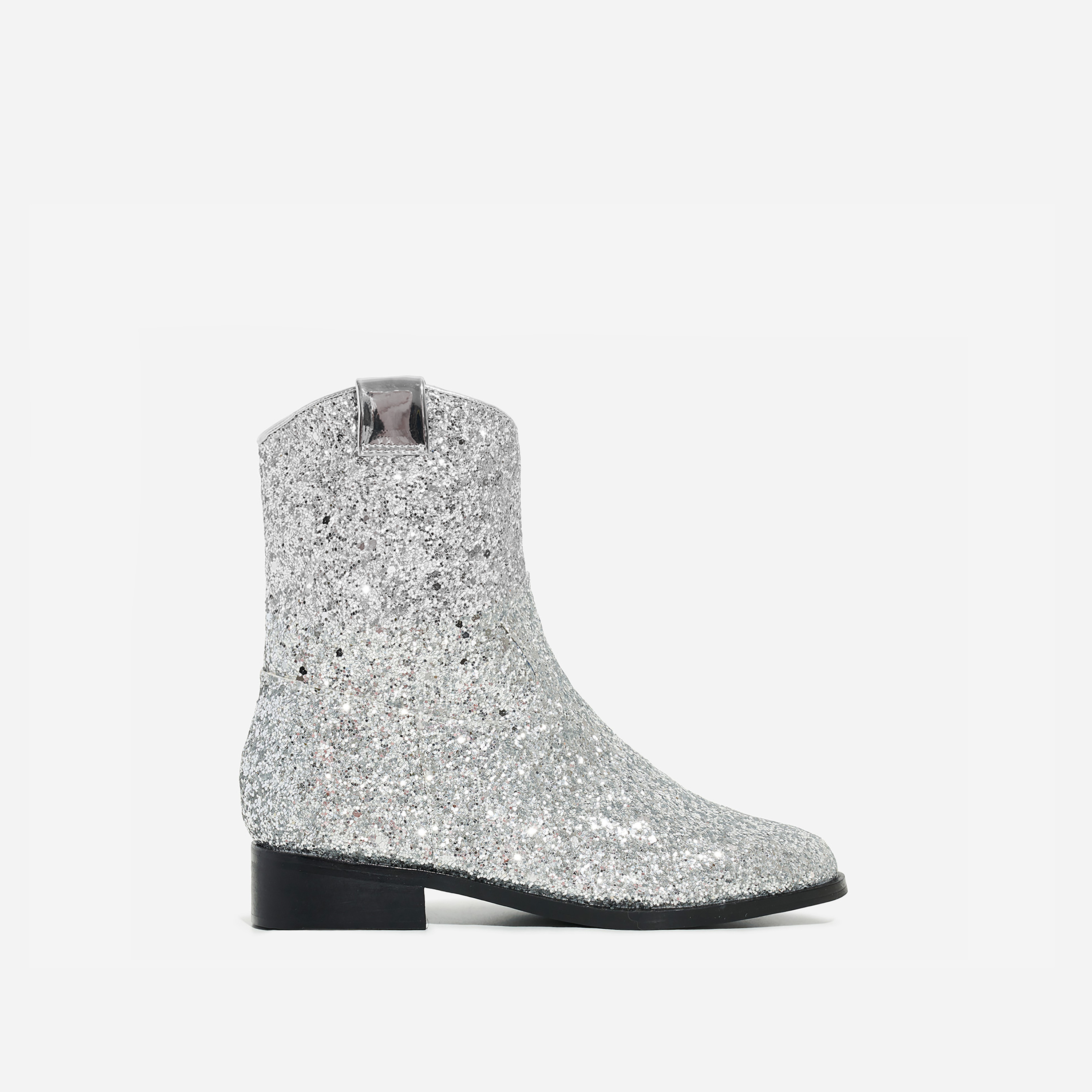 Sparkle Girl's Ankle Western Boot In Silver Glitter