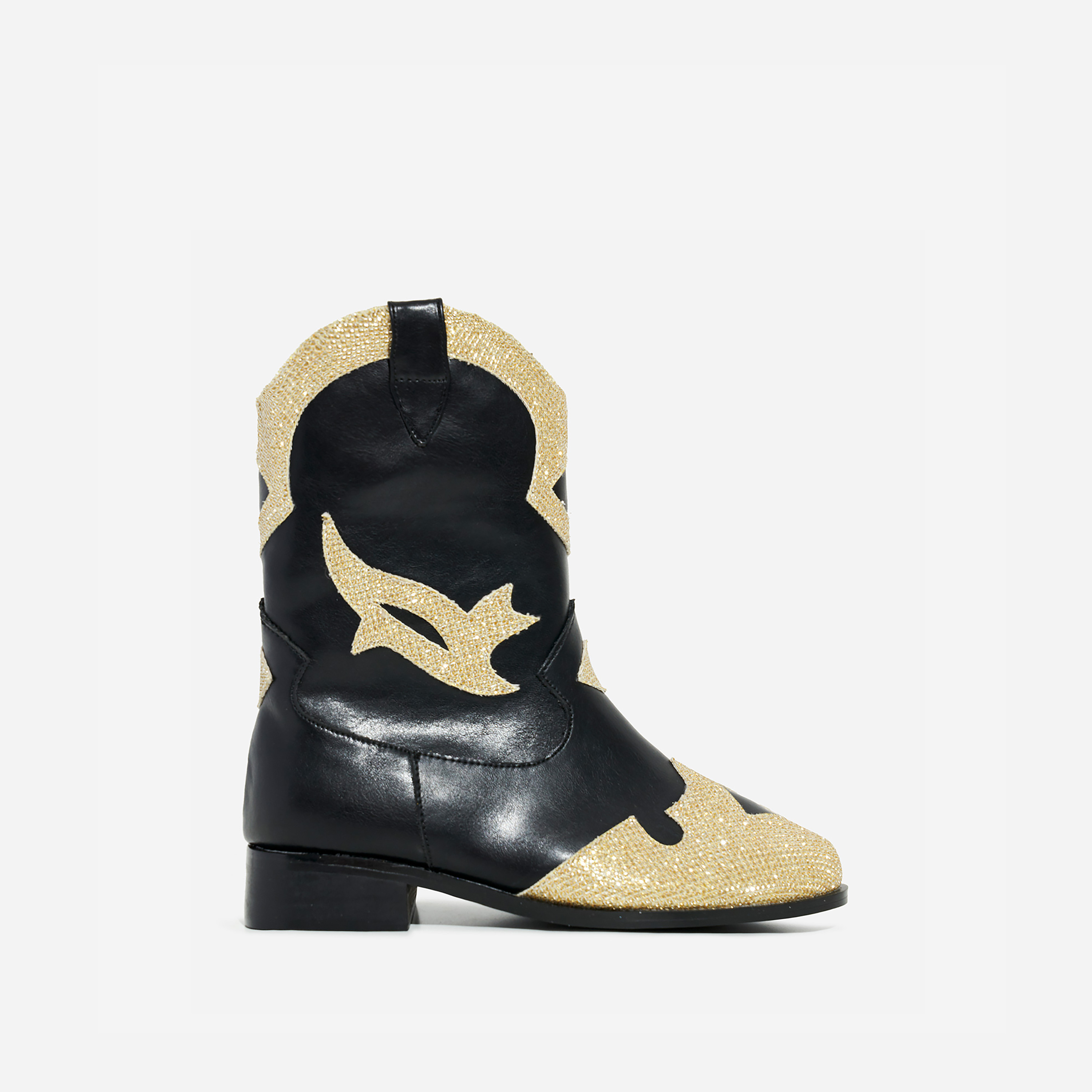 Mixer Girl's Gold Glitter Detail Western Ankle Boot In Black Faux Leather