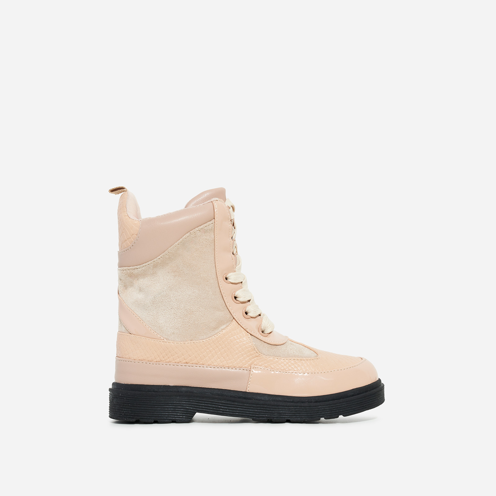 Commander Girl's Chunky Sole Lace Up Ankle Biker Boot In Nude