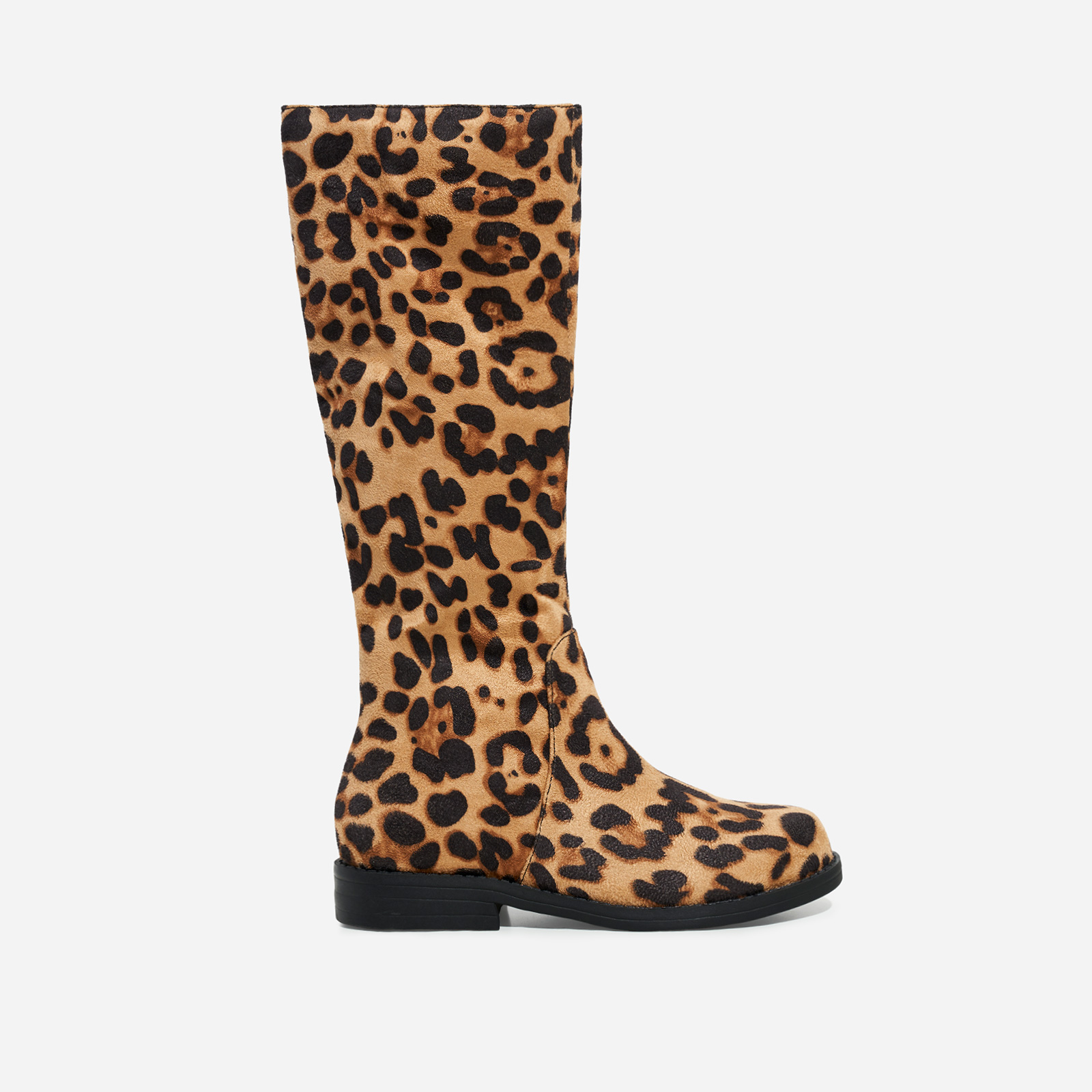 Animal Girl's Knee High Long Boot In Tan Leopard Print Faux Suede