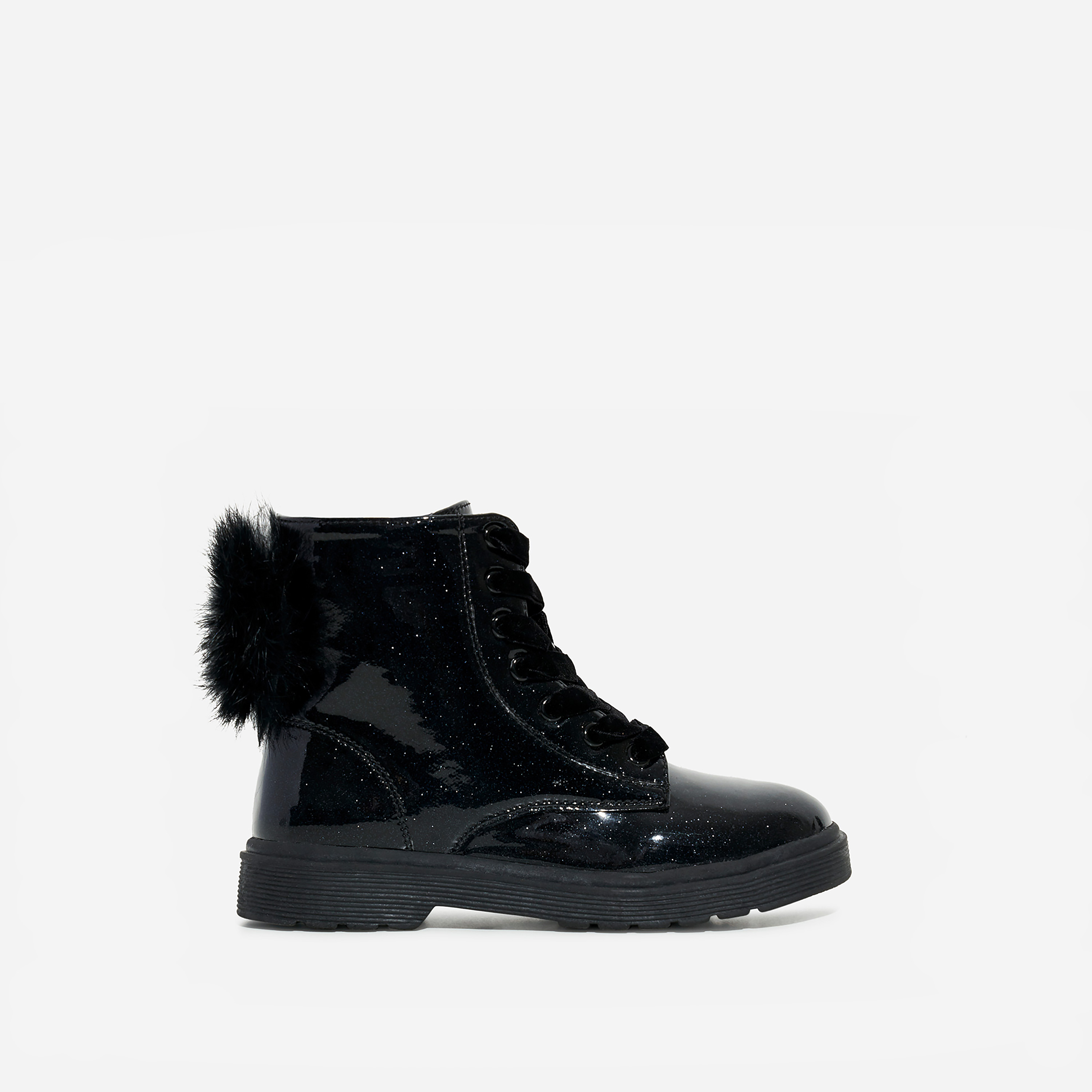Pom Girl's Faux Feather Detail Lace Up Ankle Biker Boot In Black Glitter Patent