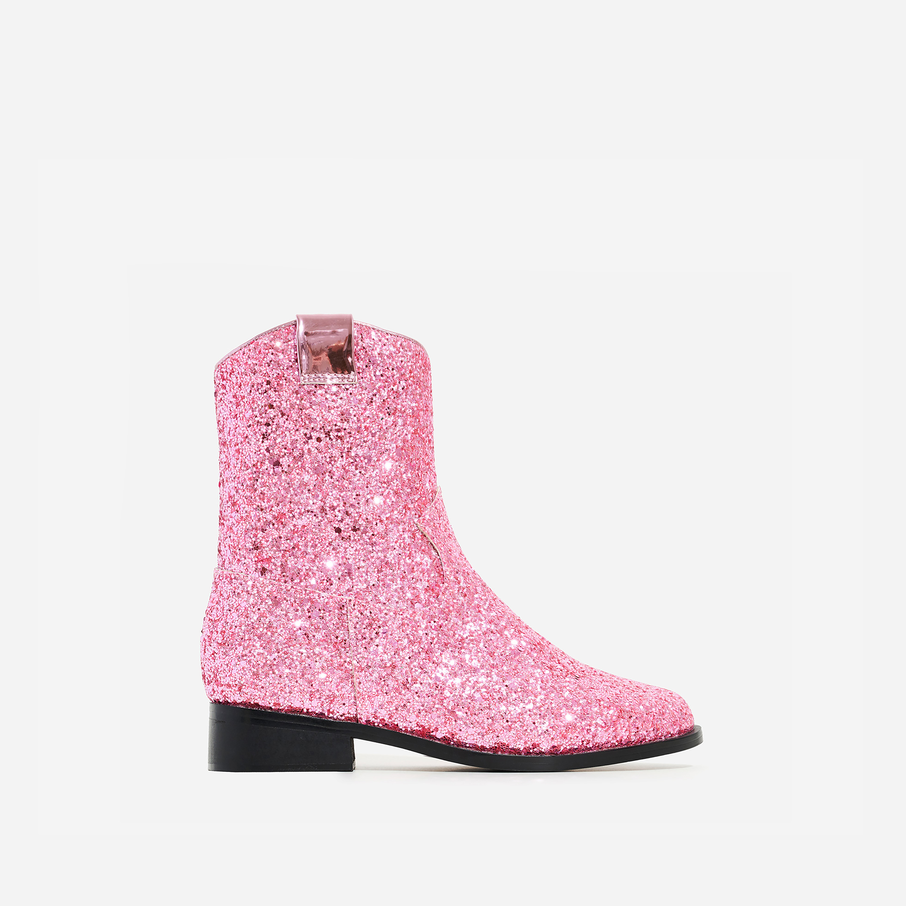 Sparkle Girl's Ankle Western Boot In Pink Glitter