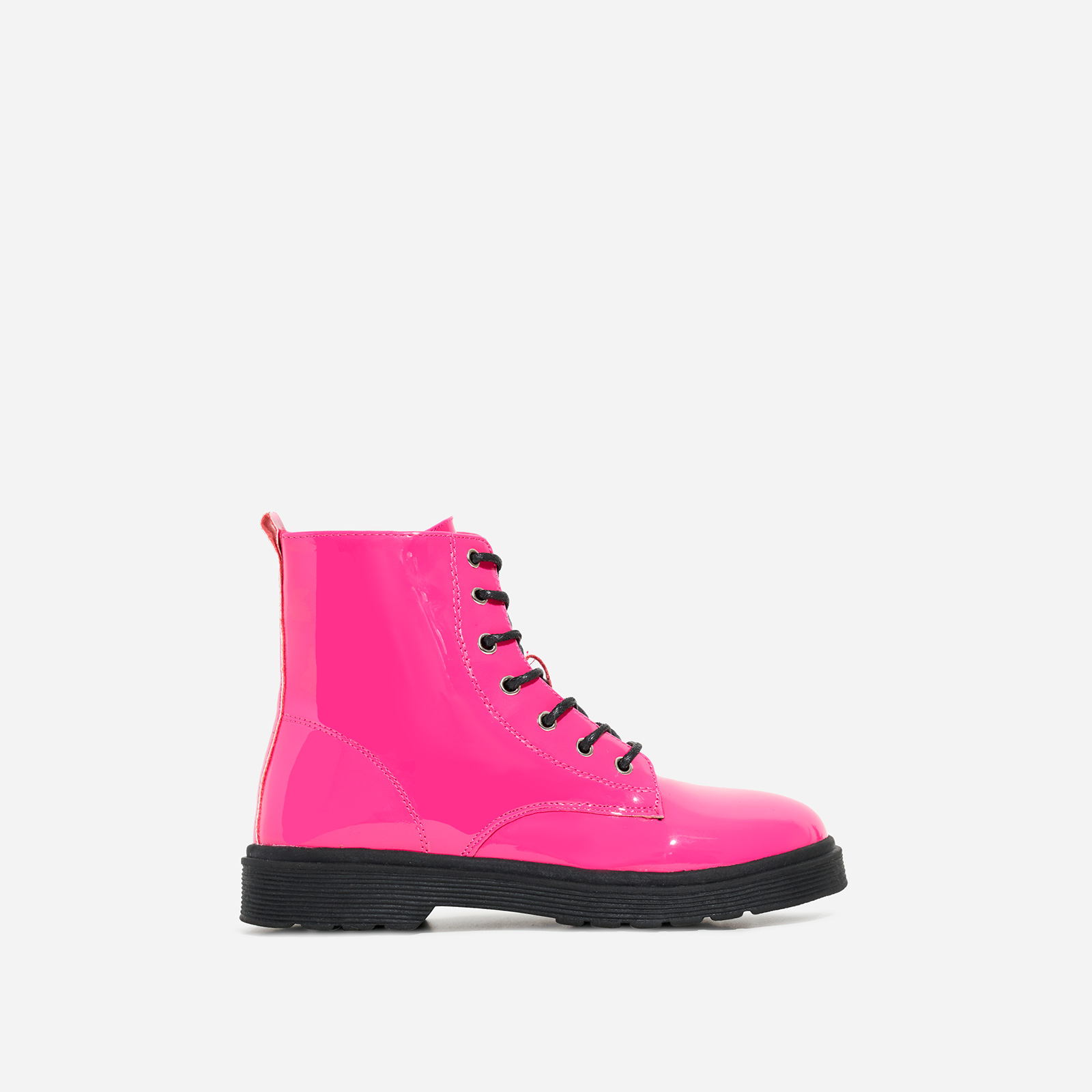 Poppin Girl's Lace Up Ankle Biker Boot In Pink Patent