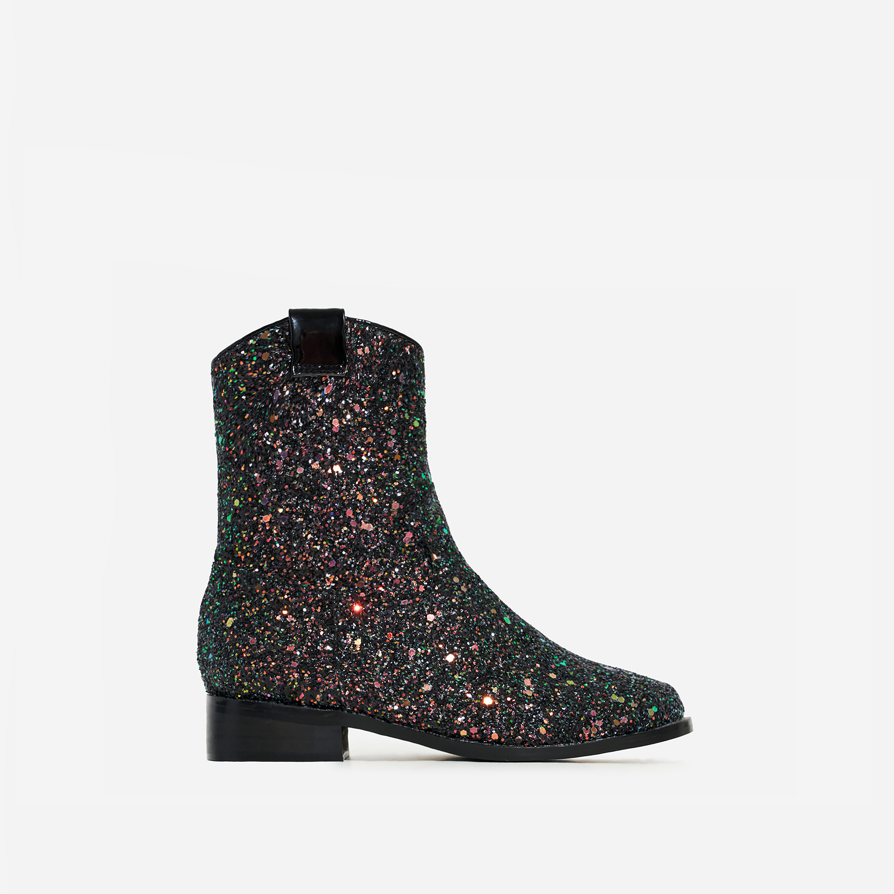 Sparkle Girl's Ankle Western Boot In Black Multi Glitter