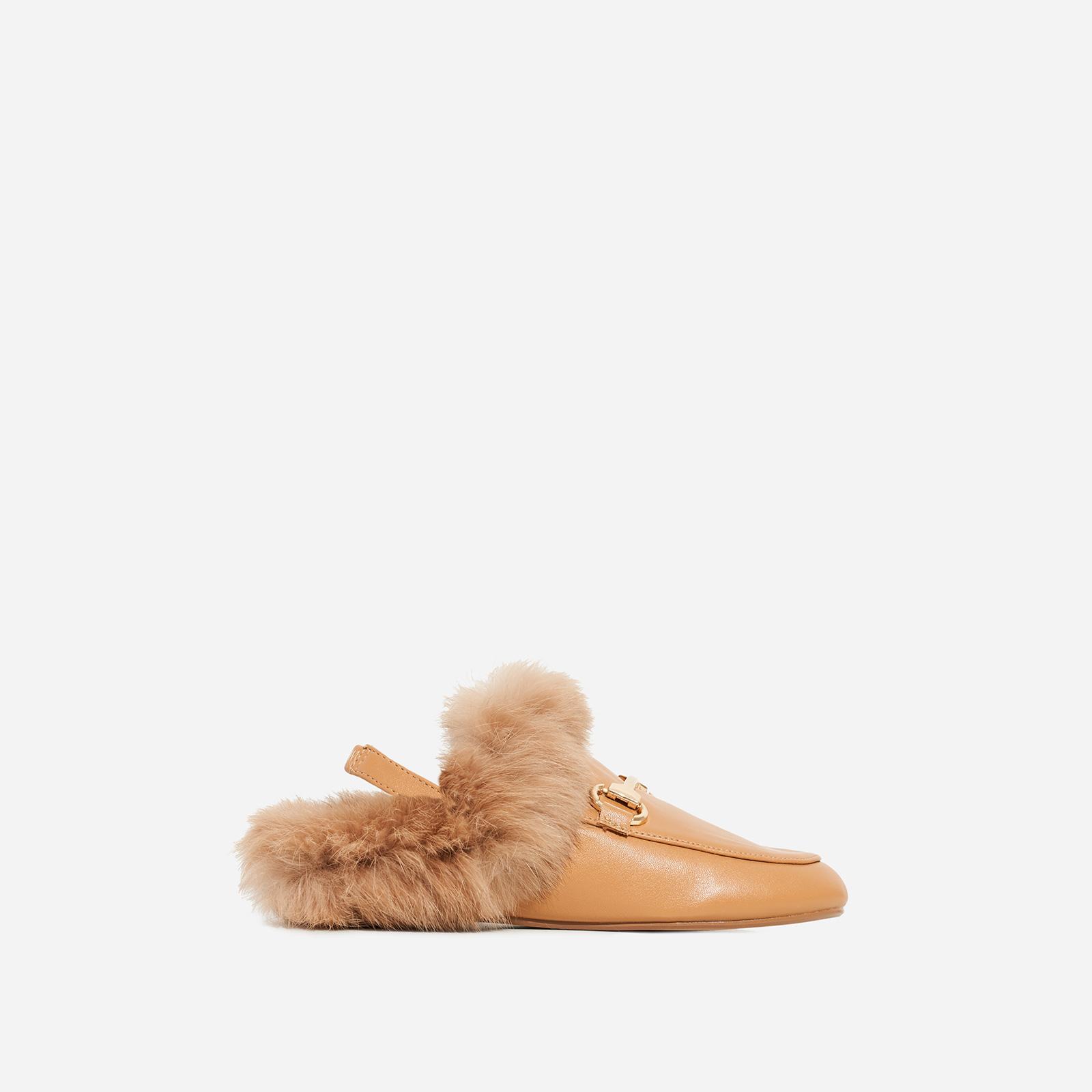 Rio Girl's Sling Back Faux Fur Flat Mule In Tan Faux Leather