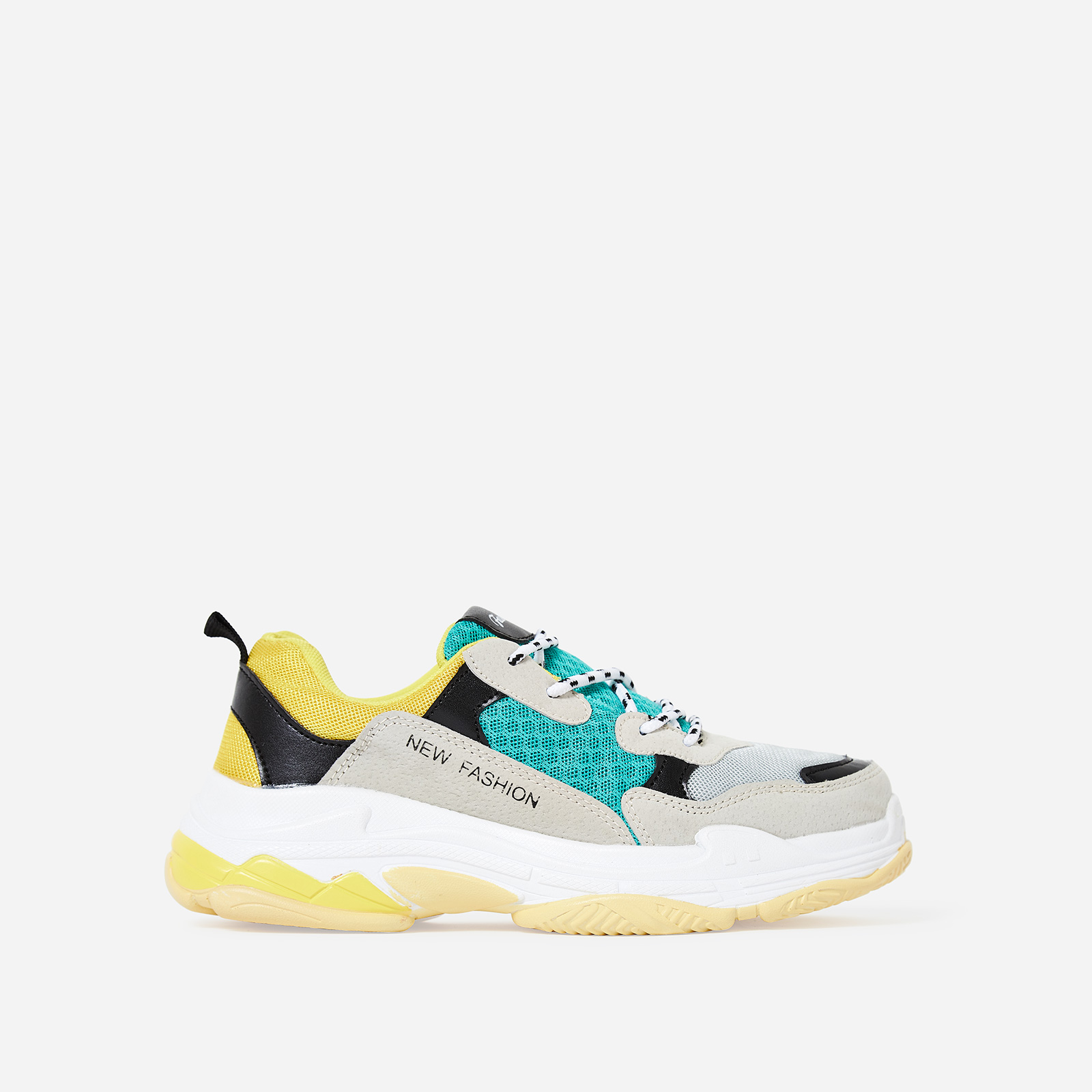 Edison Chunky Trainer In Green And Yellow