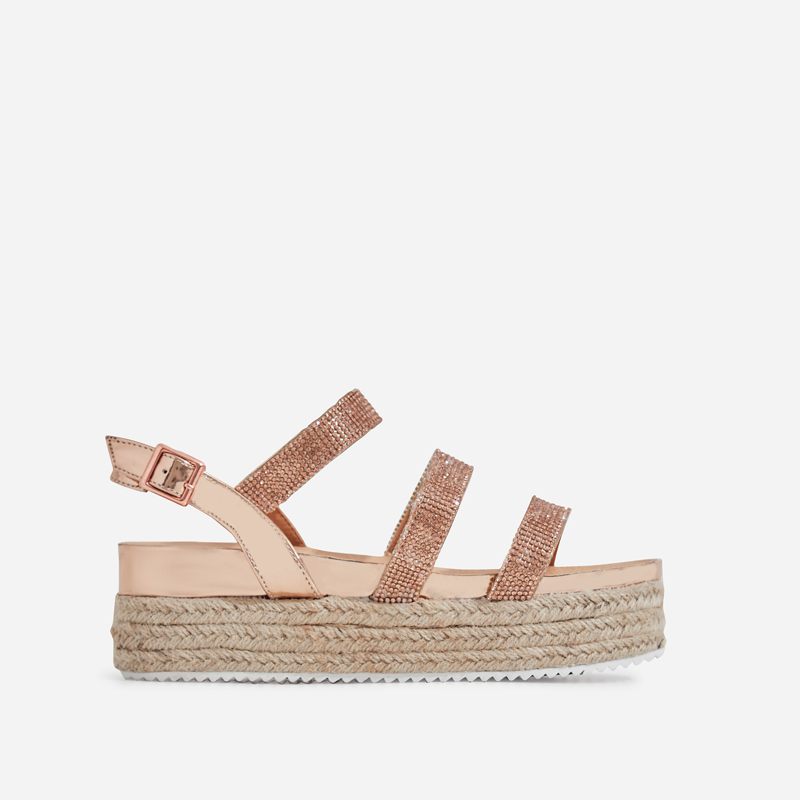 Eilish Diamante Detail Espadrille Flatform In Rose Gold Patent