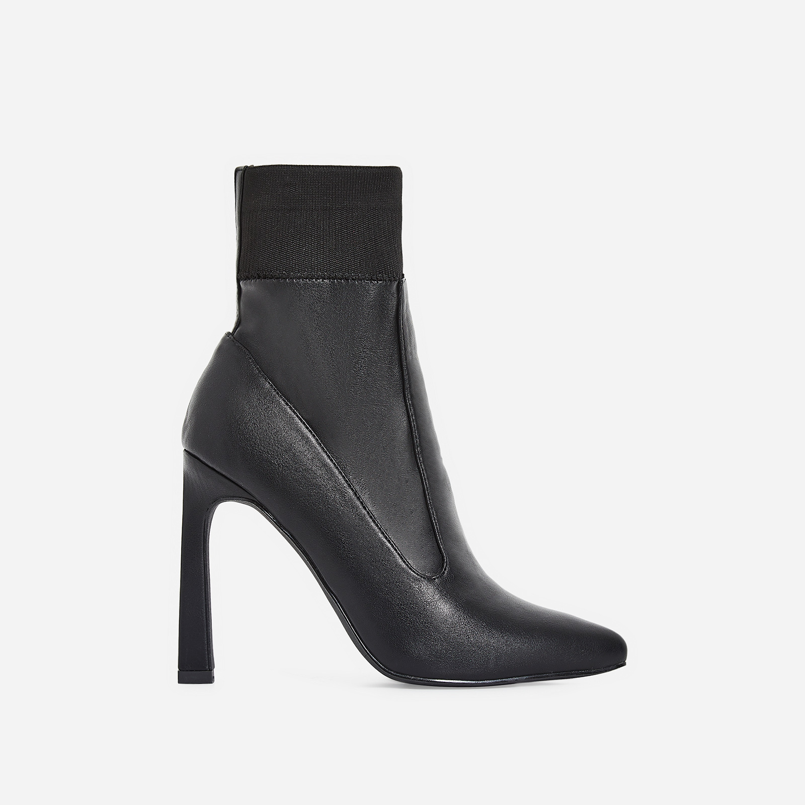 Elaina Flared Stiletto Heel Ankle Sock Boot In Black Faux Leather