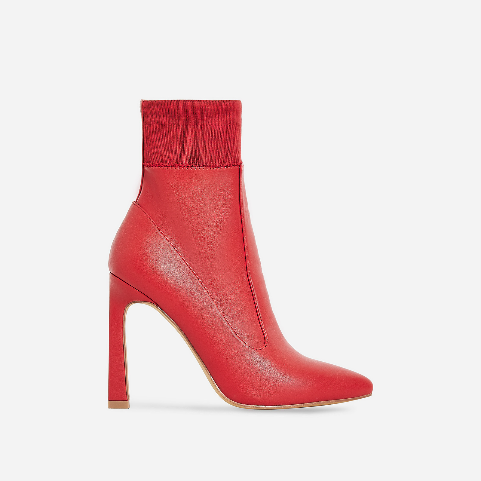 Elaina Flared Stiletto Heel Ankle Sock Boot In Red Faux Leather