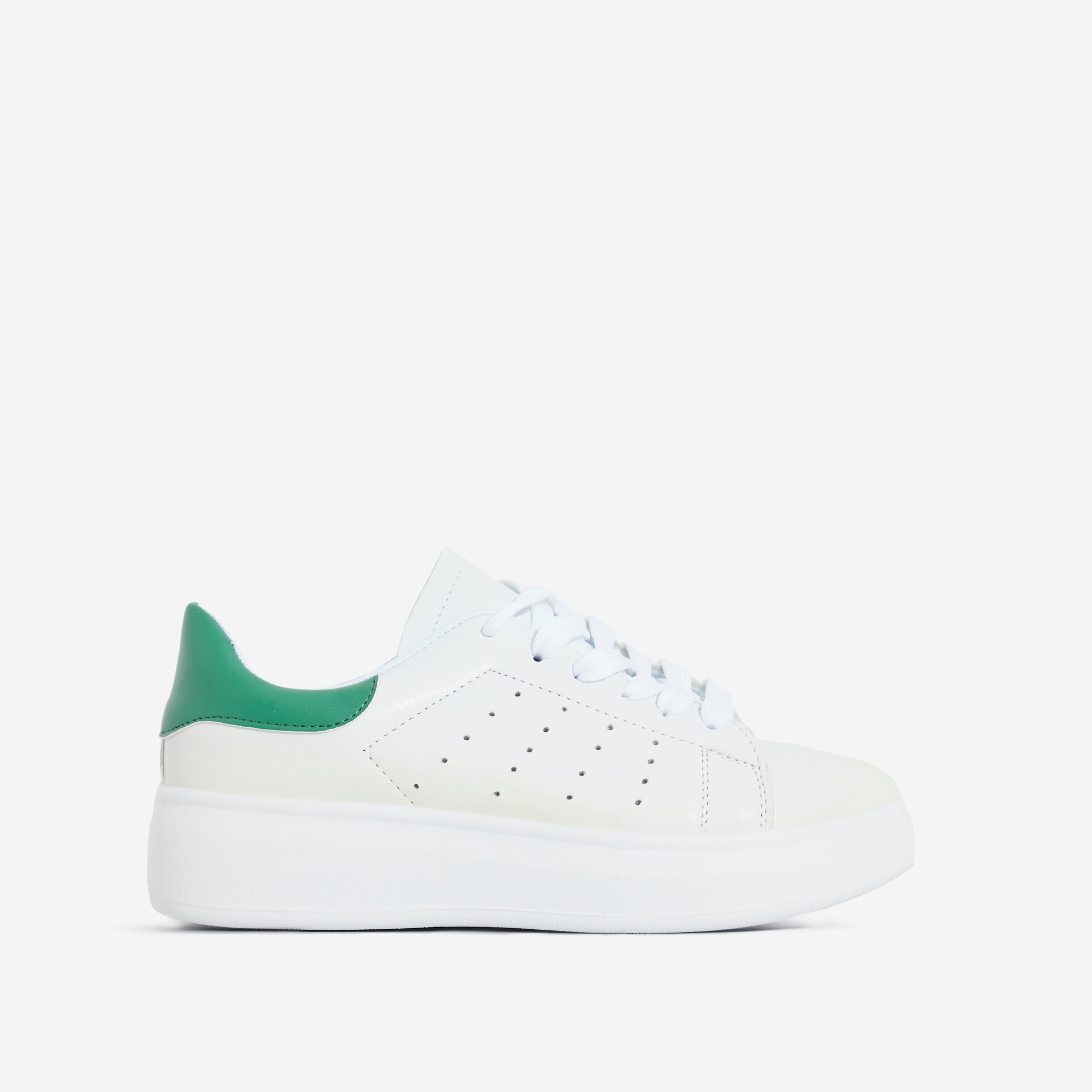 Fade Lace Up Green Heel Tab Trainer In White
