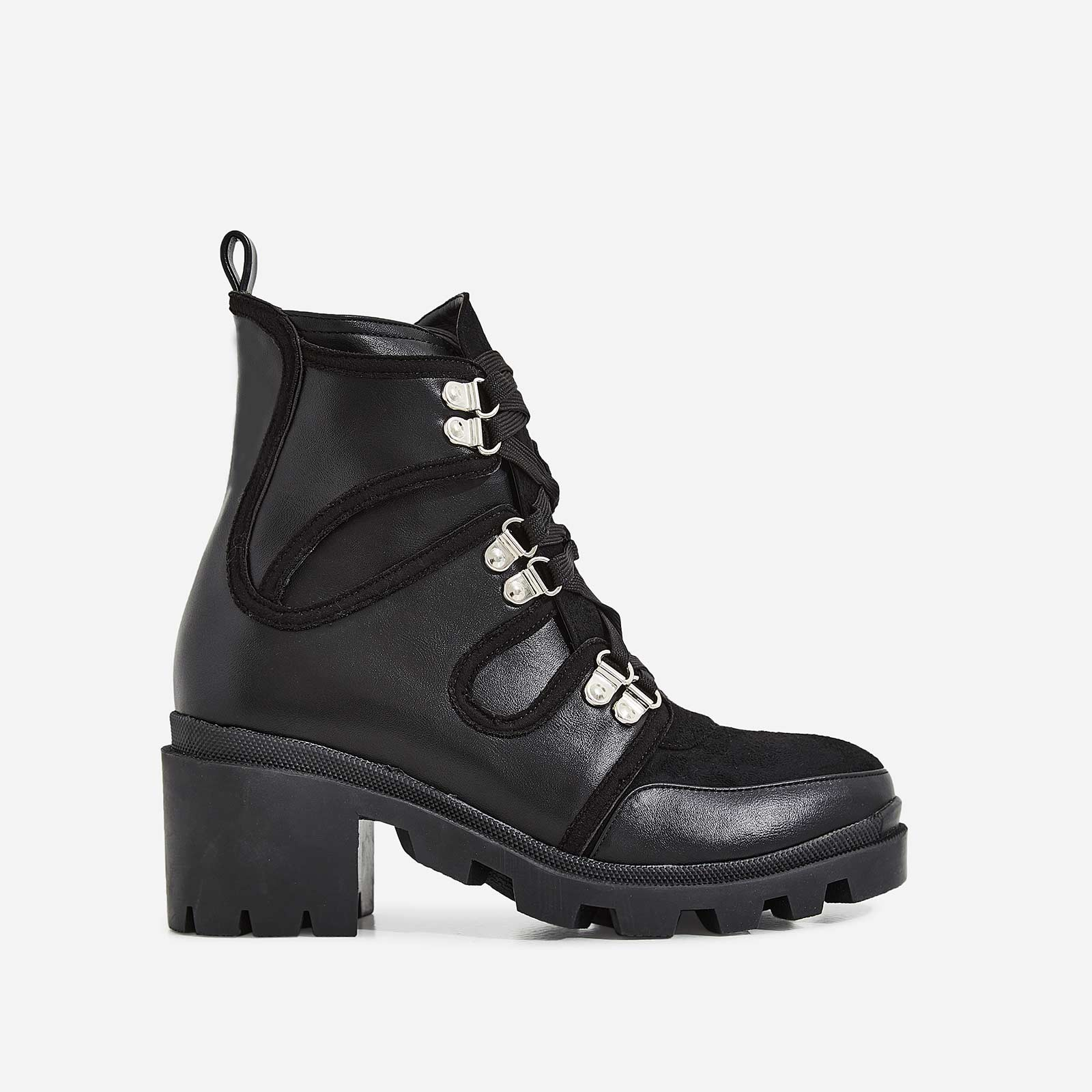 Ellis Lace Up Ankle Biker Boot In Black Faux Leather