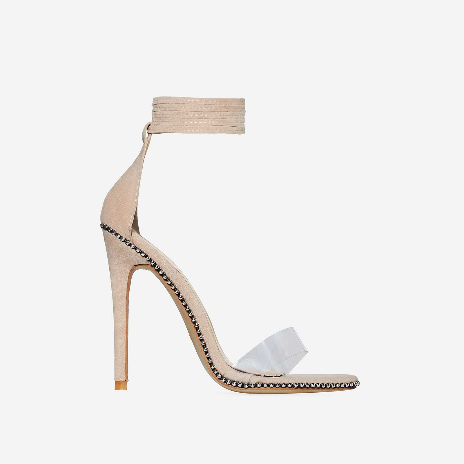 Elodie Studded Lace Up Perspex Heel In Nude Faux Suede