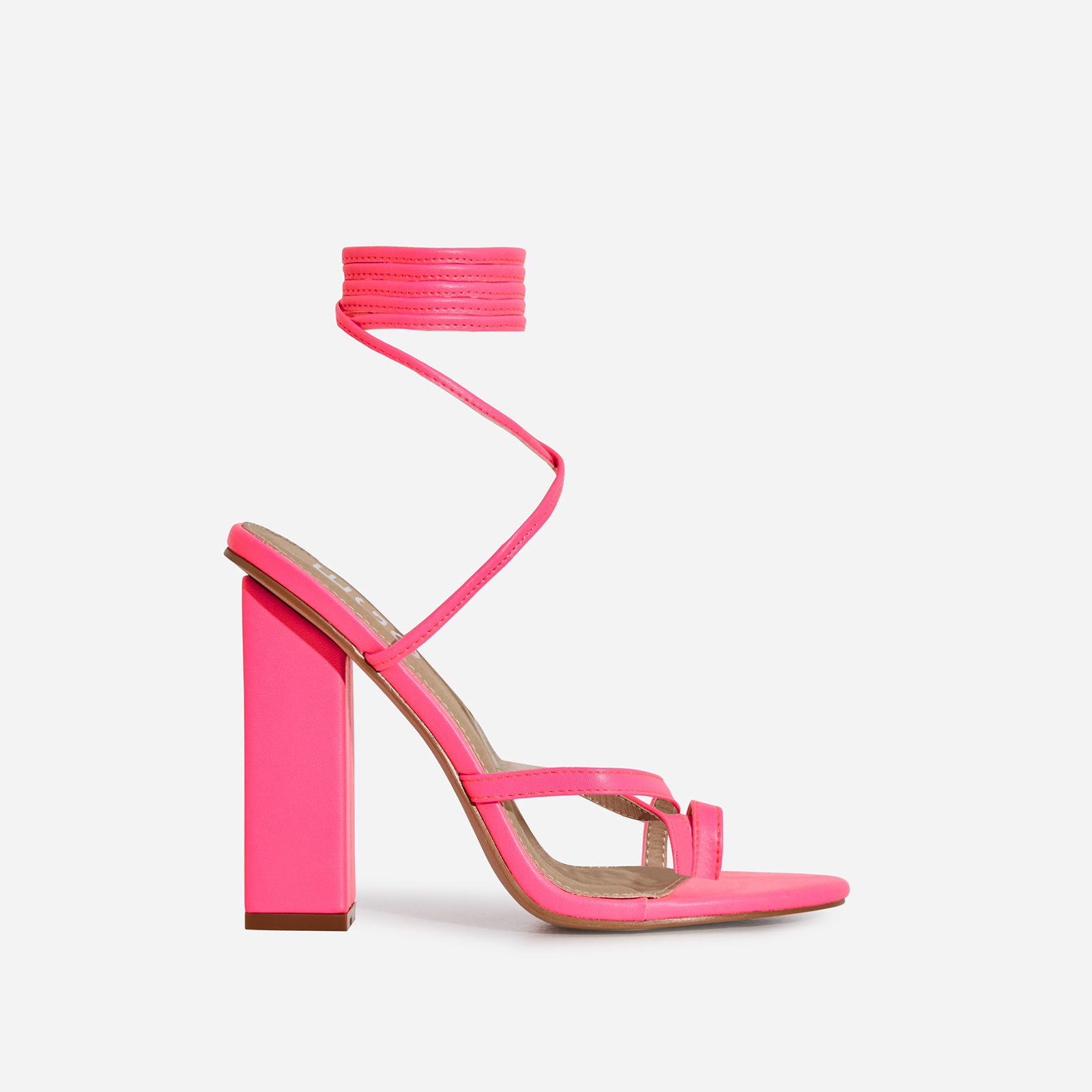 Elsa Lace Up Toe Strap Block Heel In Neon Pink Faux Leather