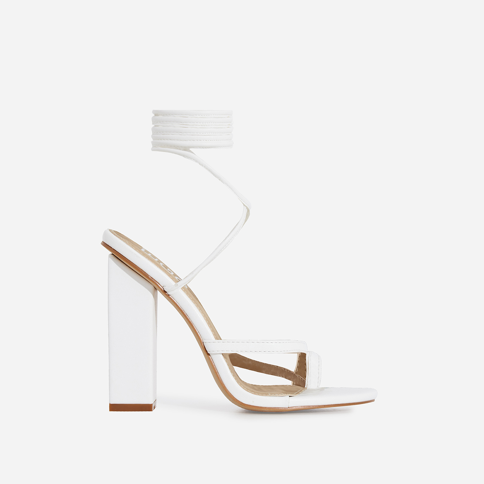 Elsa Lace Up Toe Strap Block Heel In White Faux Leather