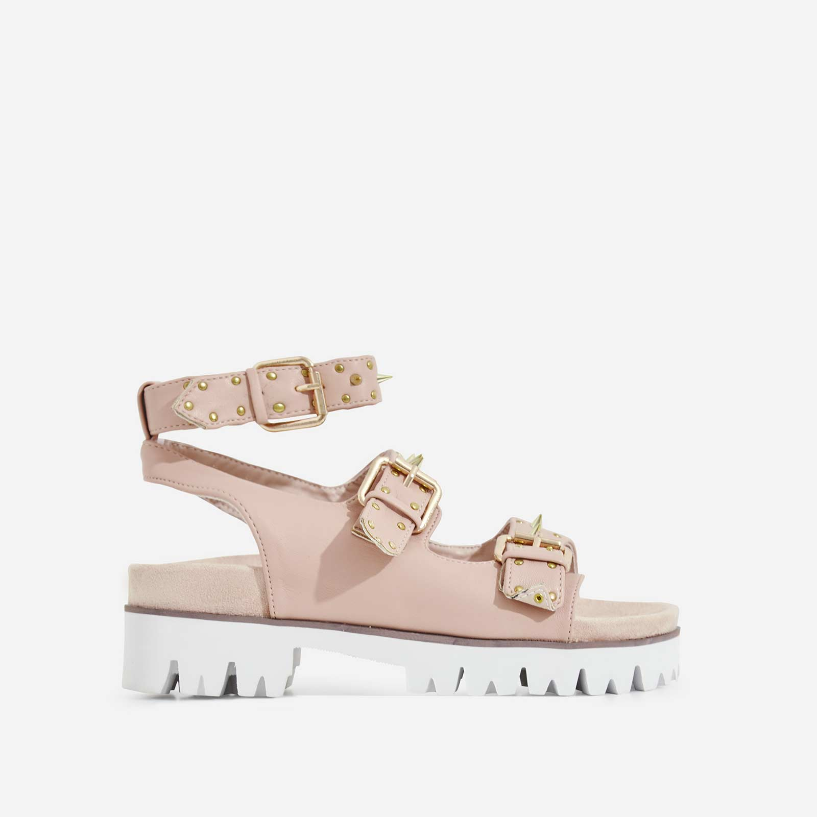 Elva Studded Detail Chunky Sole Sandal In Nude Faux Leather
