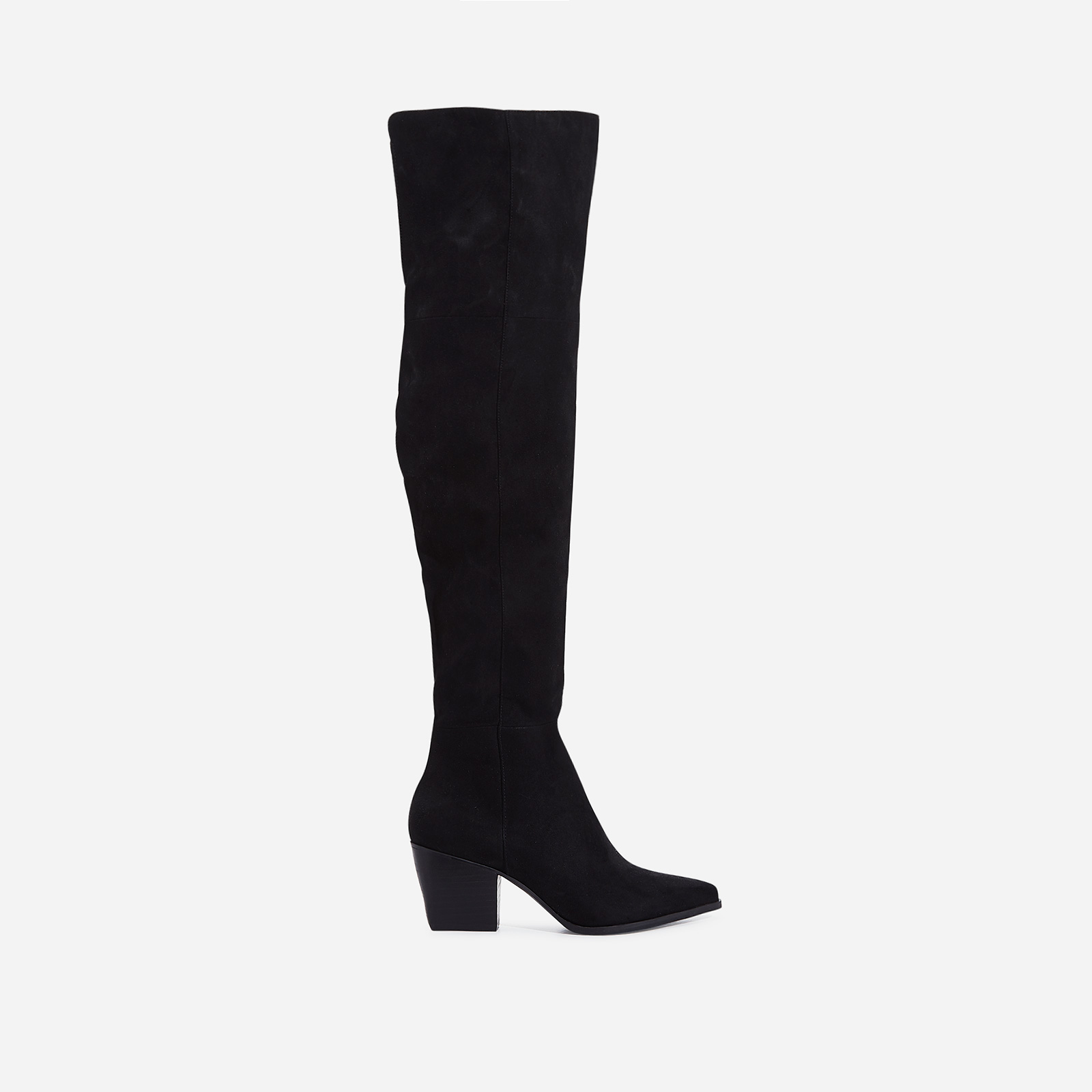 Emanuel Over The Knee Long Boot In Black Faux Suede