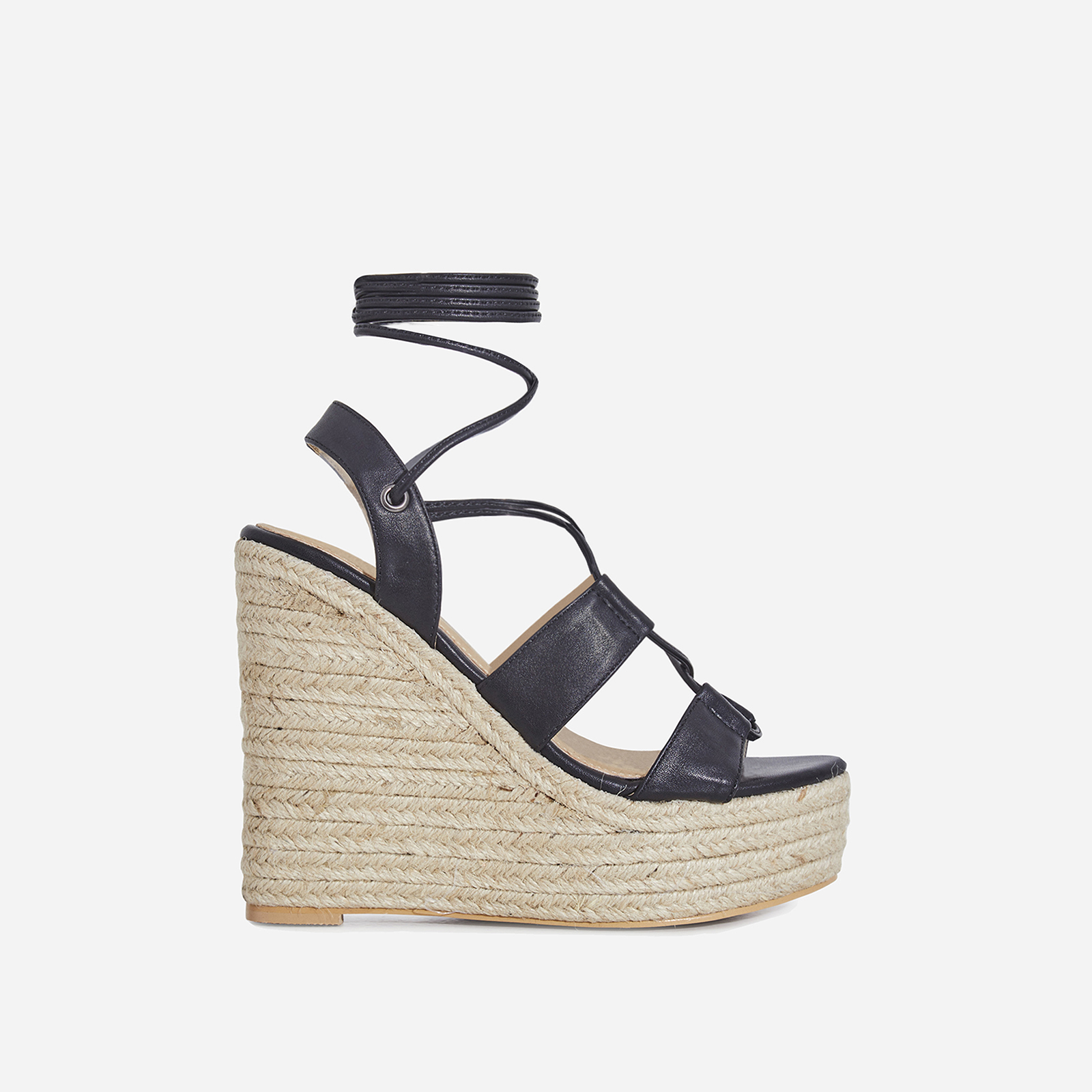 Emelia Lace Up Espadrille Wedge Platform Heel In Black Faux Leather