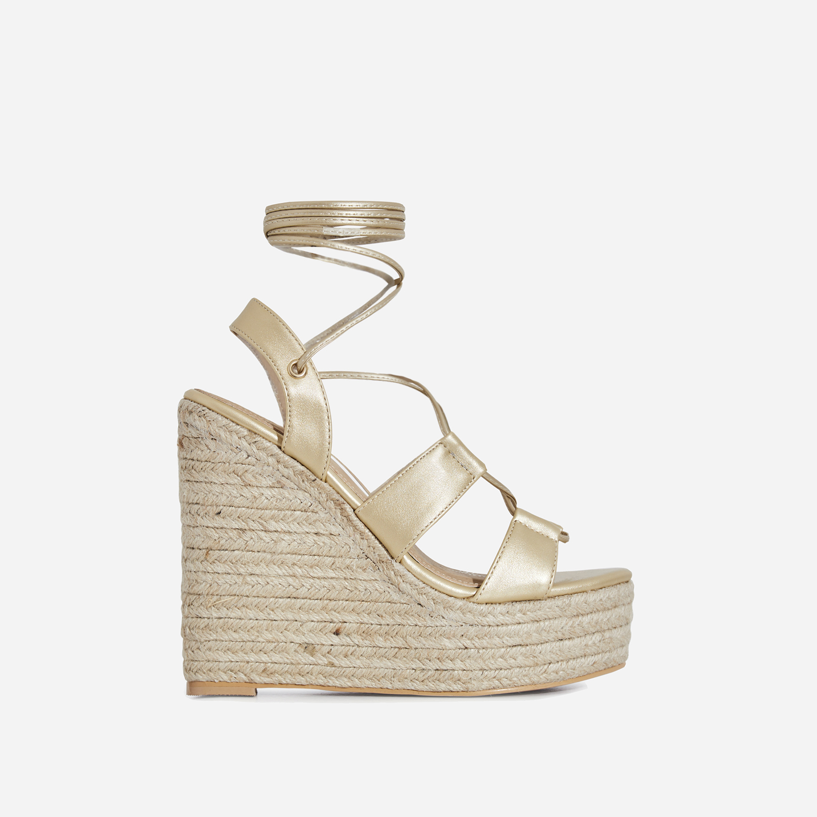 Emelia Lace Up Espadrille Wedge Platform Heel In Gold Faux Leather