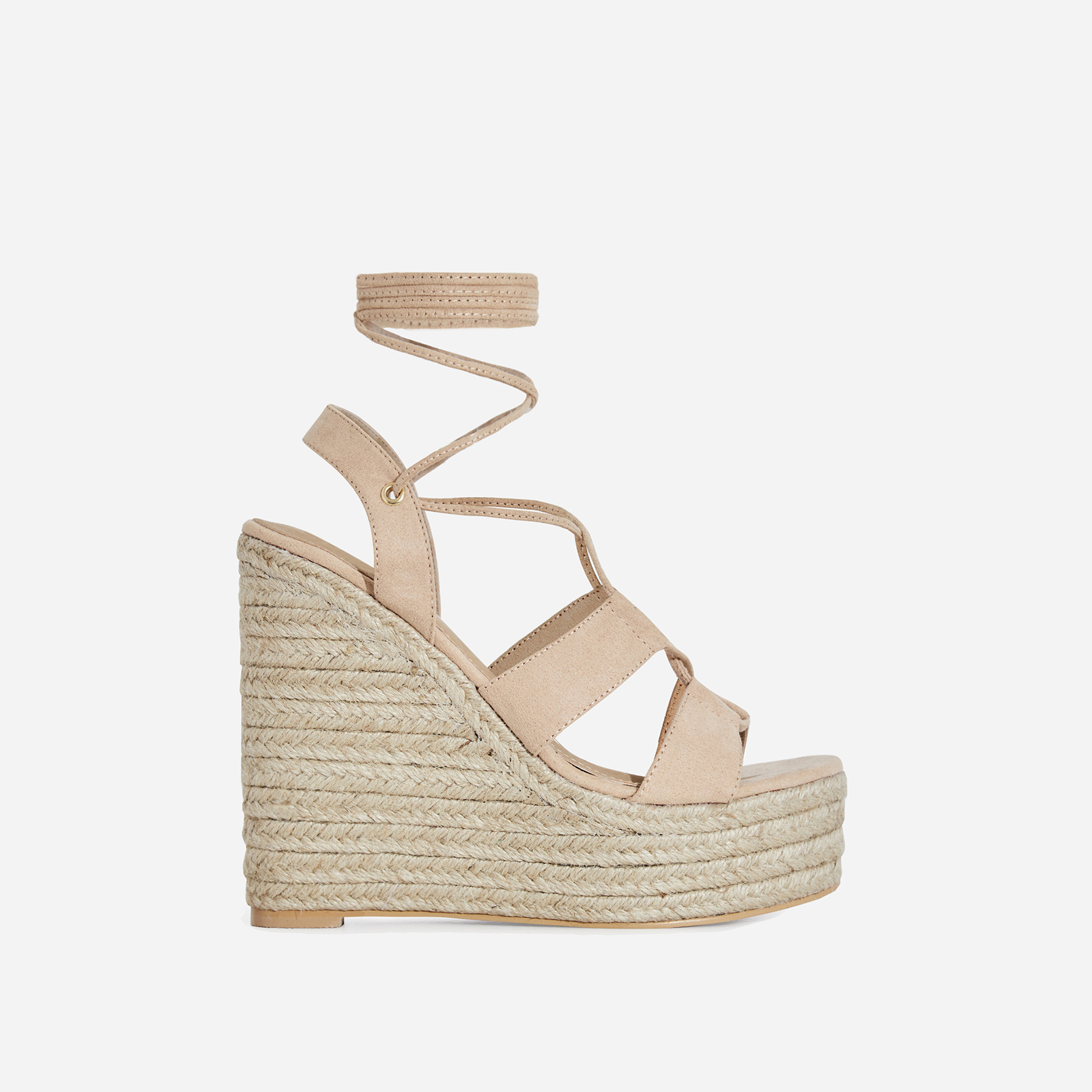 Emelia Lace Up Espadrille Wedge Platform Heel In Nude Faux Suede