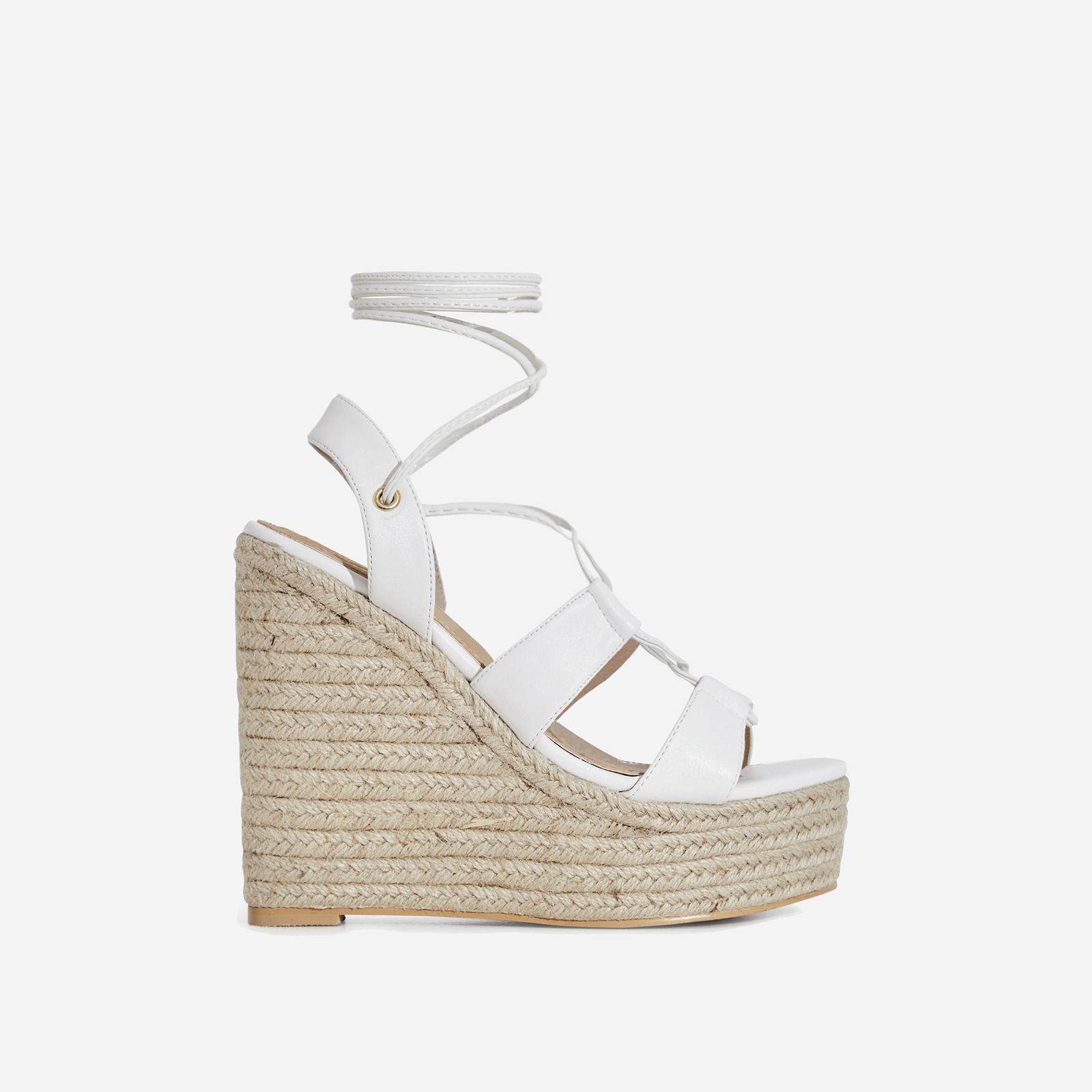 Emelia Lace Up Espadrille Wedge Platform Heel In White Faux Leather