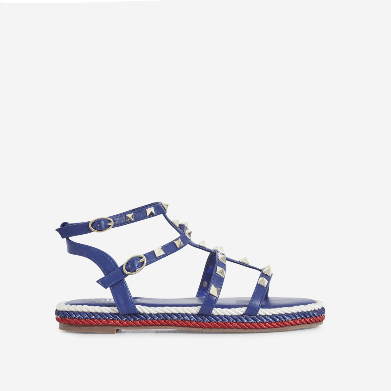 Emery Studded Detail Rope Espadrille In Blue Faux Leather
