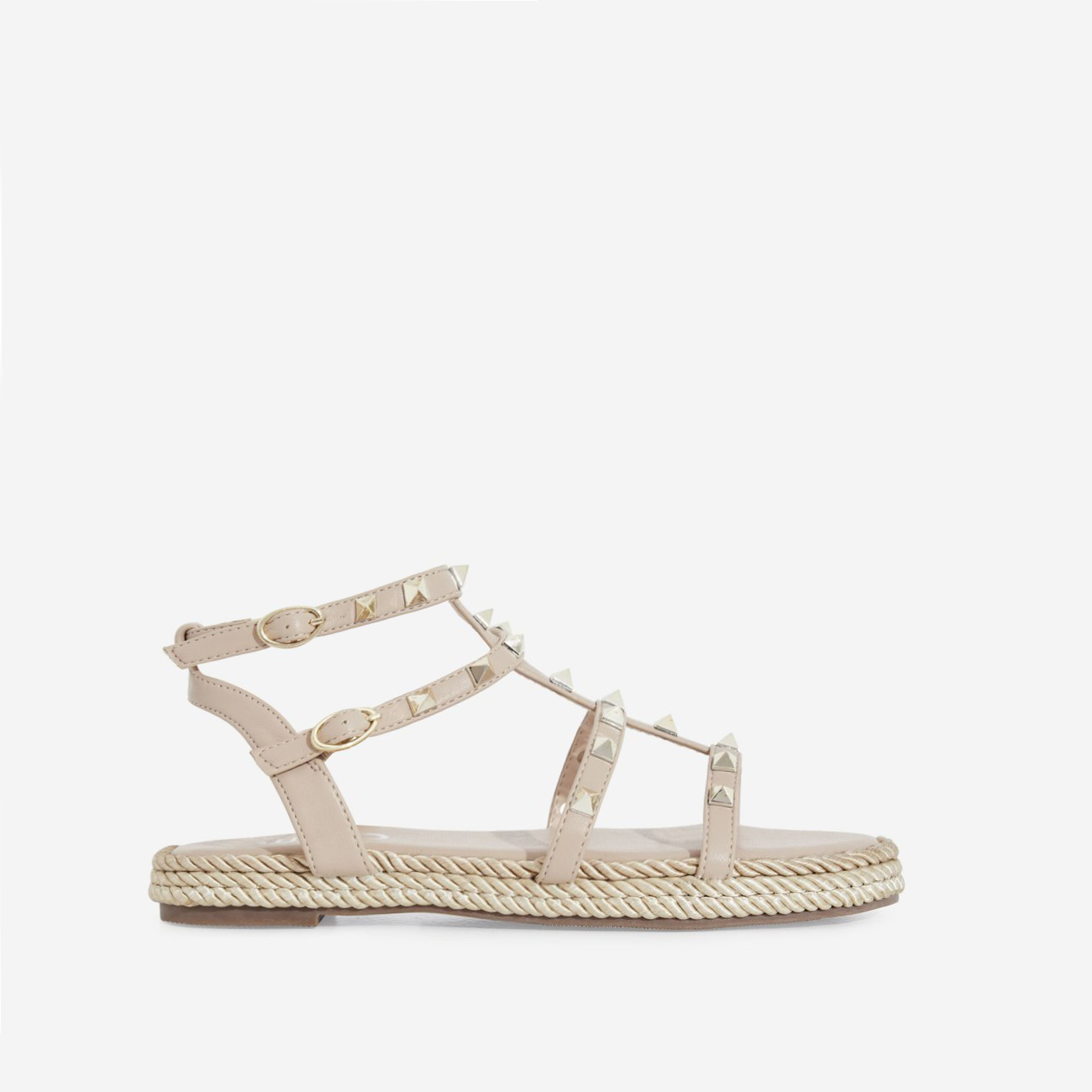 Emery Studded Detail Rope Espadrille In Nude Faux Leather