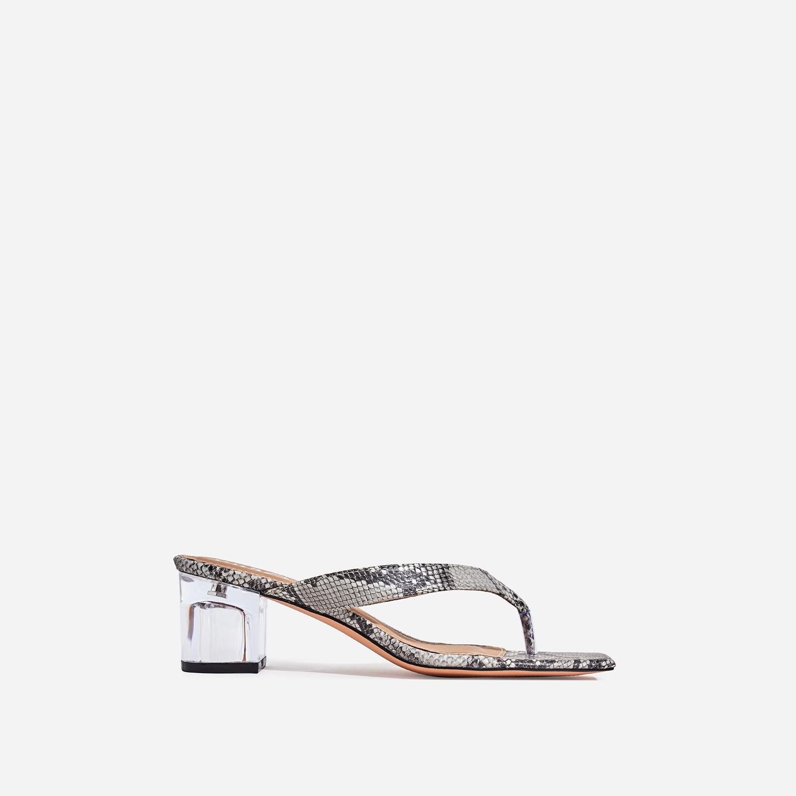 Emme Square Toe Clear Perspex Midi Block Heel Mule In Grey Snake Print Faux Leather
